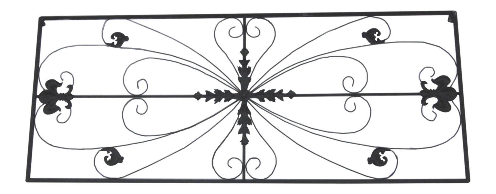 Hand Forged Iron Lotus Blossom Candlesticks S3 furthermore Metal Grille Fleur De Lis Ornamental Panel together with Vintage Industrial Cast Iron Treadle Sewing Machine Base also Painted Iron Brass Victorian Queen Size Headboard as well French Wrought Iron Fireplace Tool Set. on 4ft sofa bed
