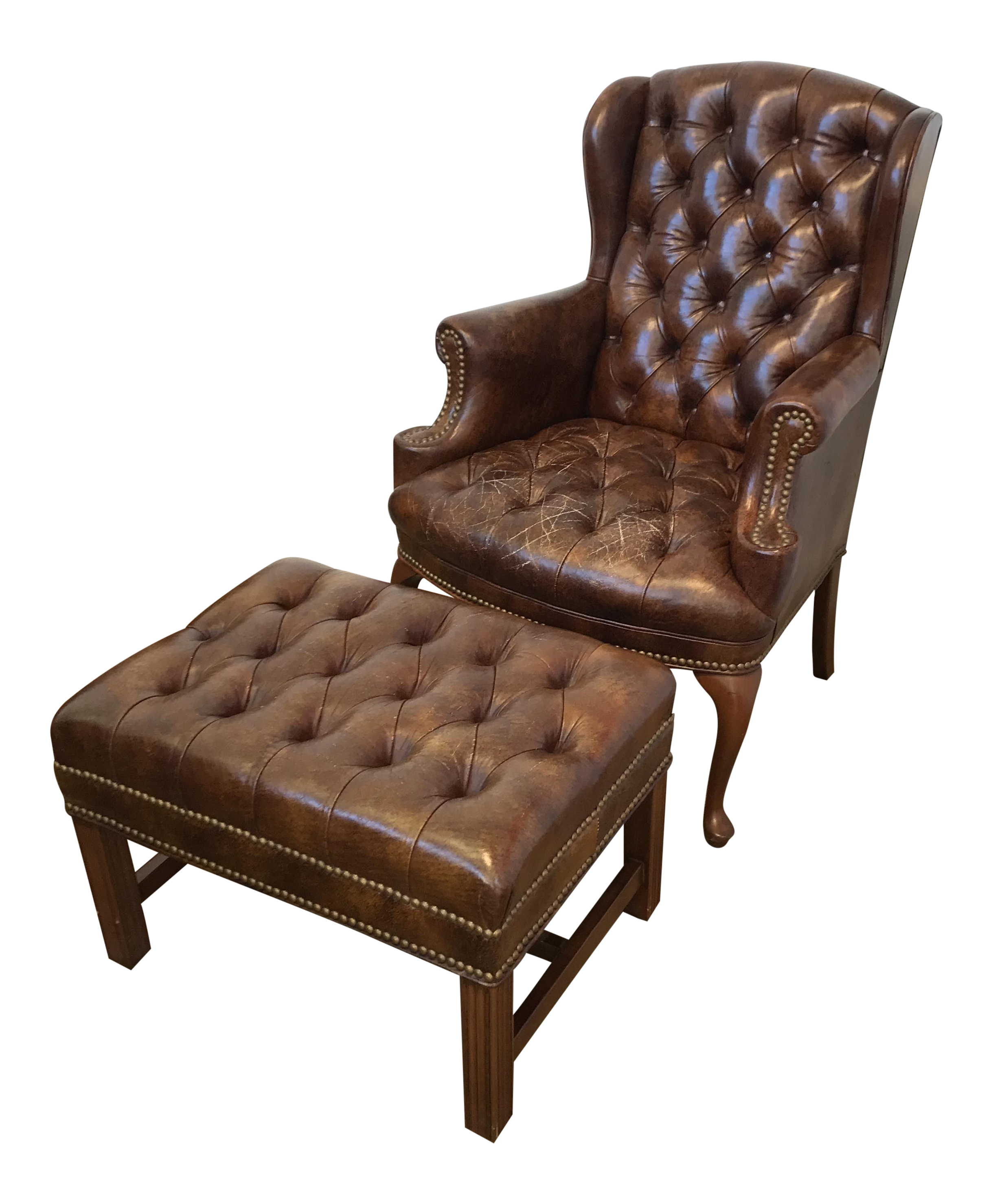 Leather Tufted Wingback Chair Amp Ottoman Chairish