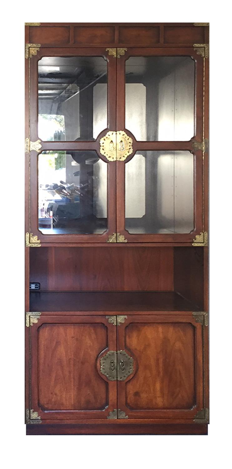 Hutch Display Cabinet Vintage Henredon Chinoiserie Campaign Etched Brass Illiminated