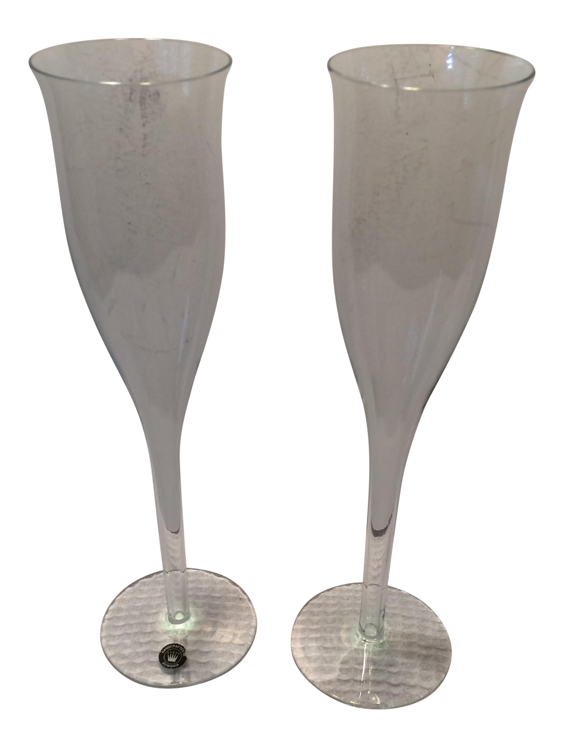 Vintage romanian crystal hollow stem champagne glasses set of 2 chairish - Champagne flutes hollow stem ...