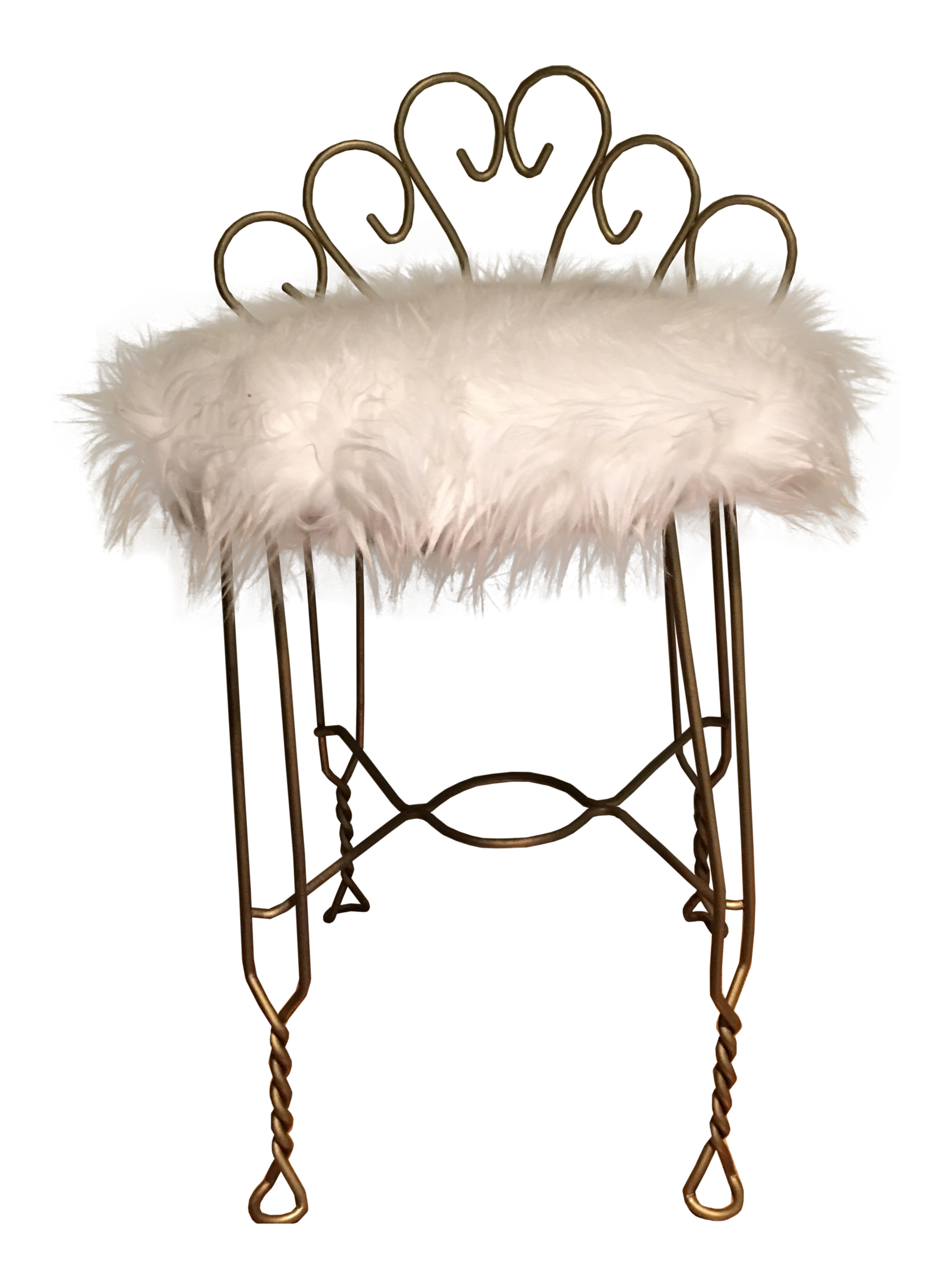 Hollywood Regency Brass & Faux Fur Vanity Chair | Chairish