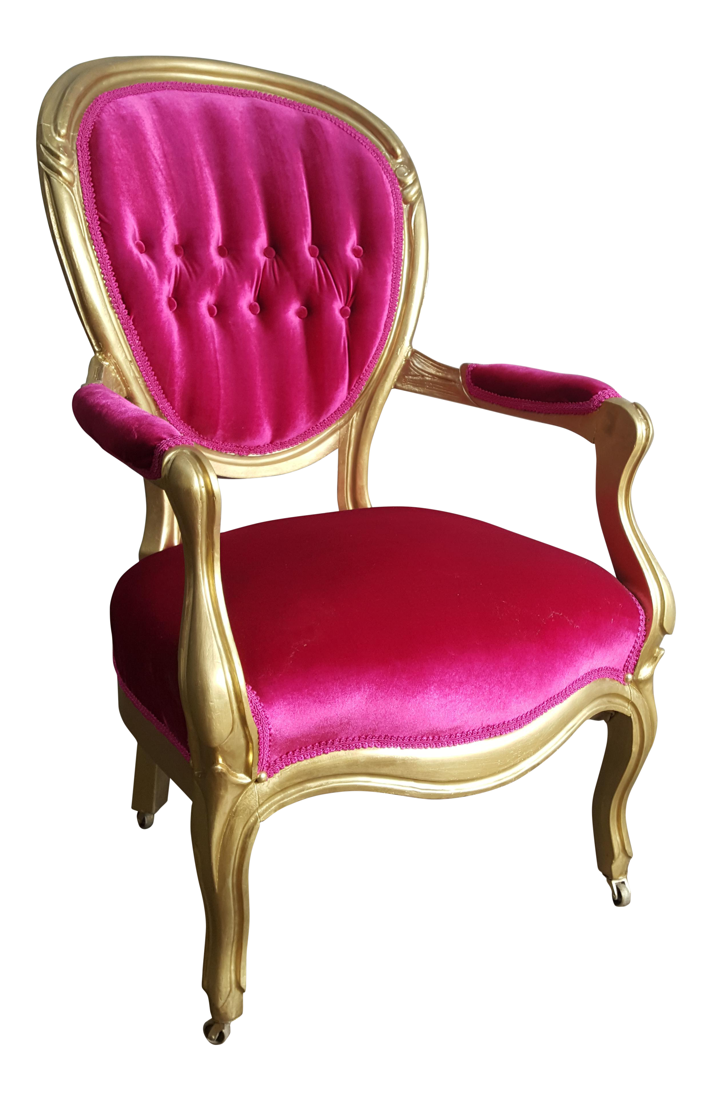 Antique velvet chair - Image Of Victorian Antique Pink Velvet And Gold Chair