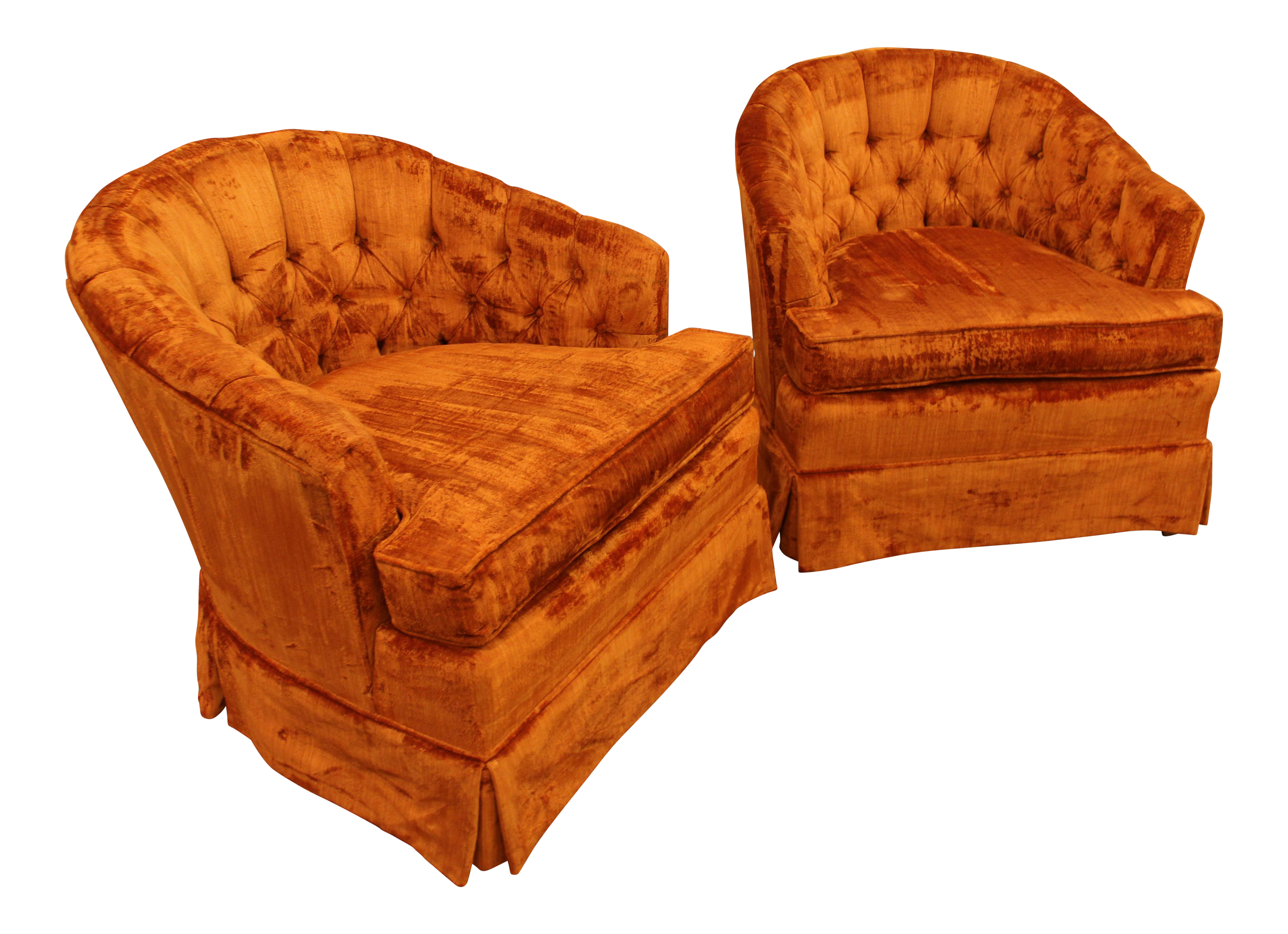This mid century tufted club chairs is no longer available - Image Of Mid Century Orange Tufted Back Club Chairs A Pair