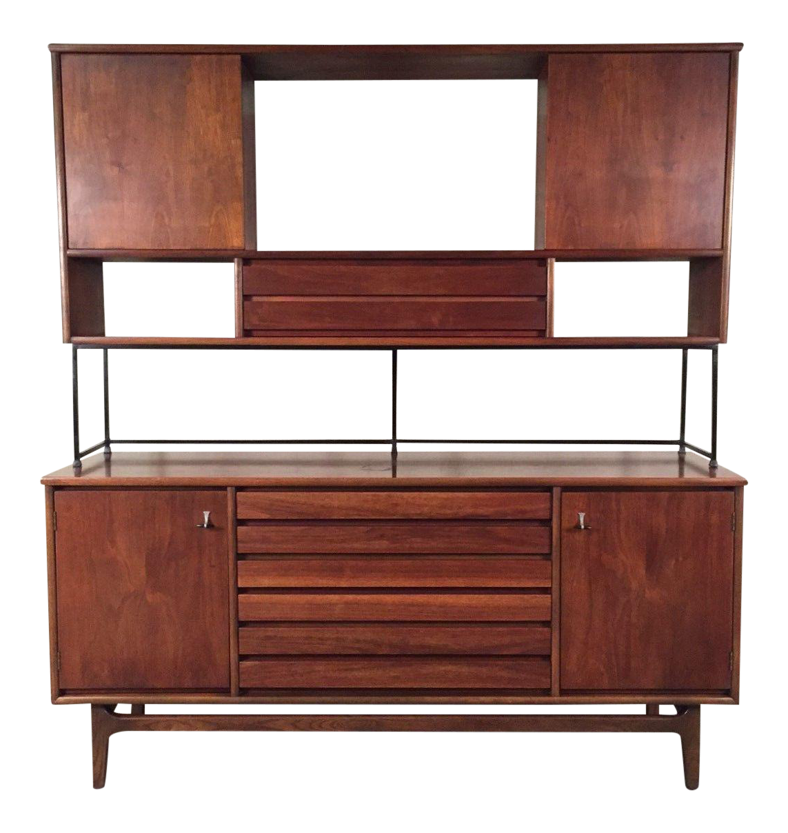 Stanley american forum mid century modern buffet with for Modern buffet table with hutch