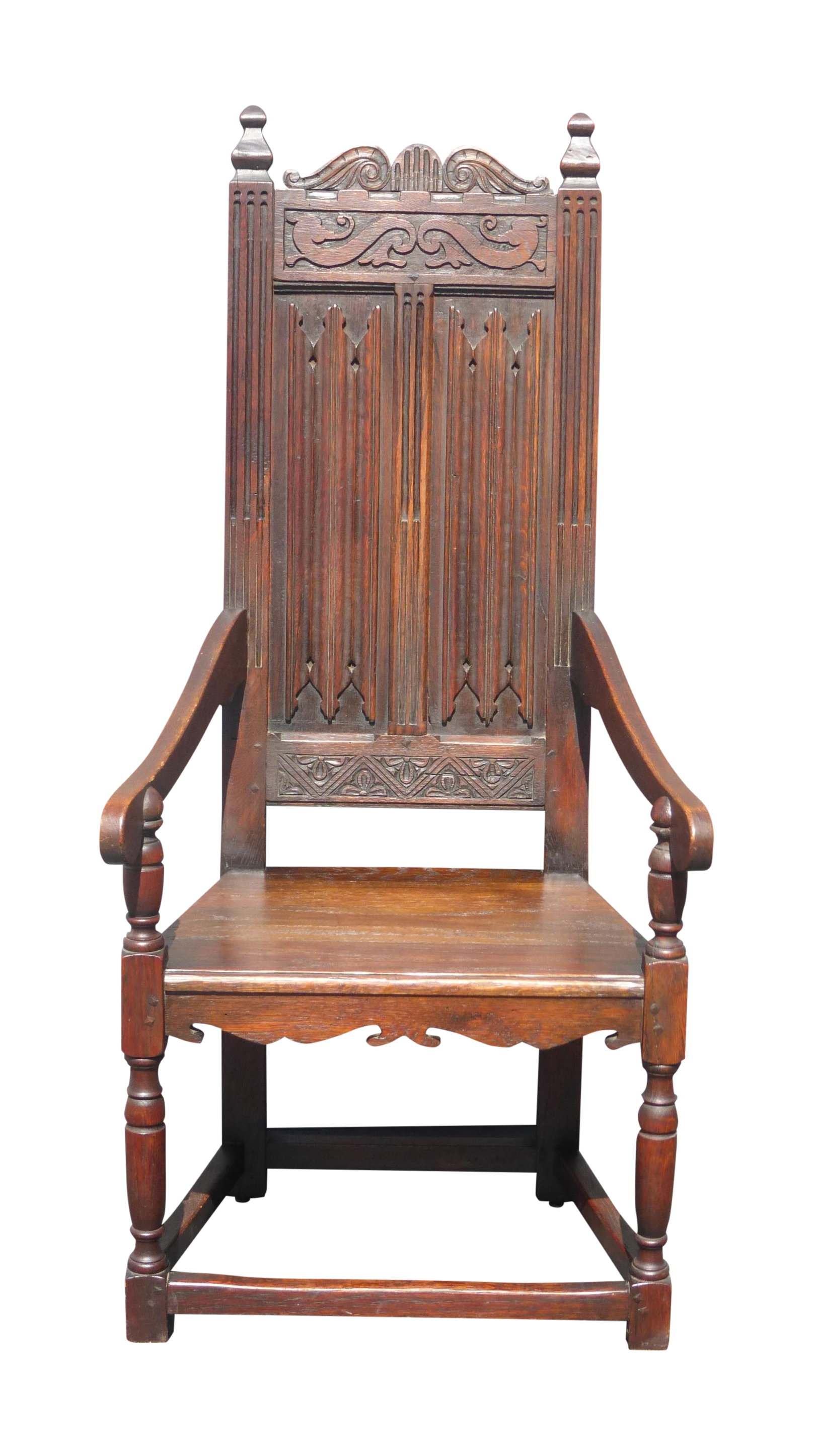 Antique Spanish Revival Carved Throne Chair 6 Ft