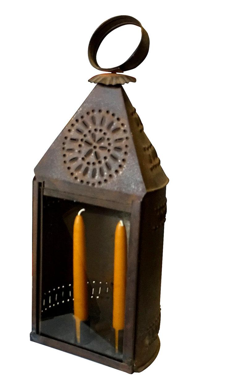 Early 1800s Punched Tin Candle Lantern Chairish