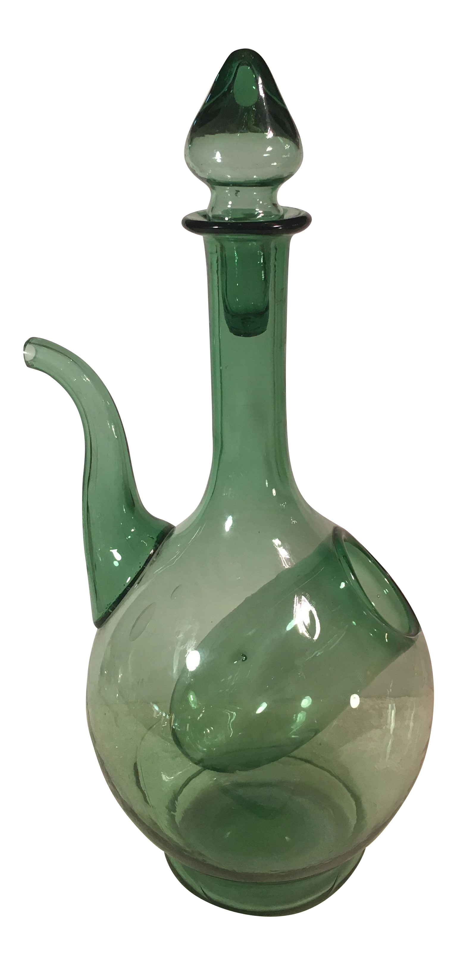 Vintage Green Glass Wine Decanter With Ice Holder Chairish