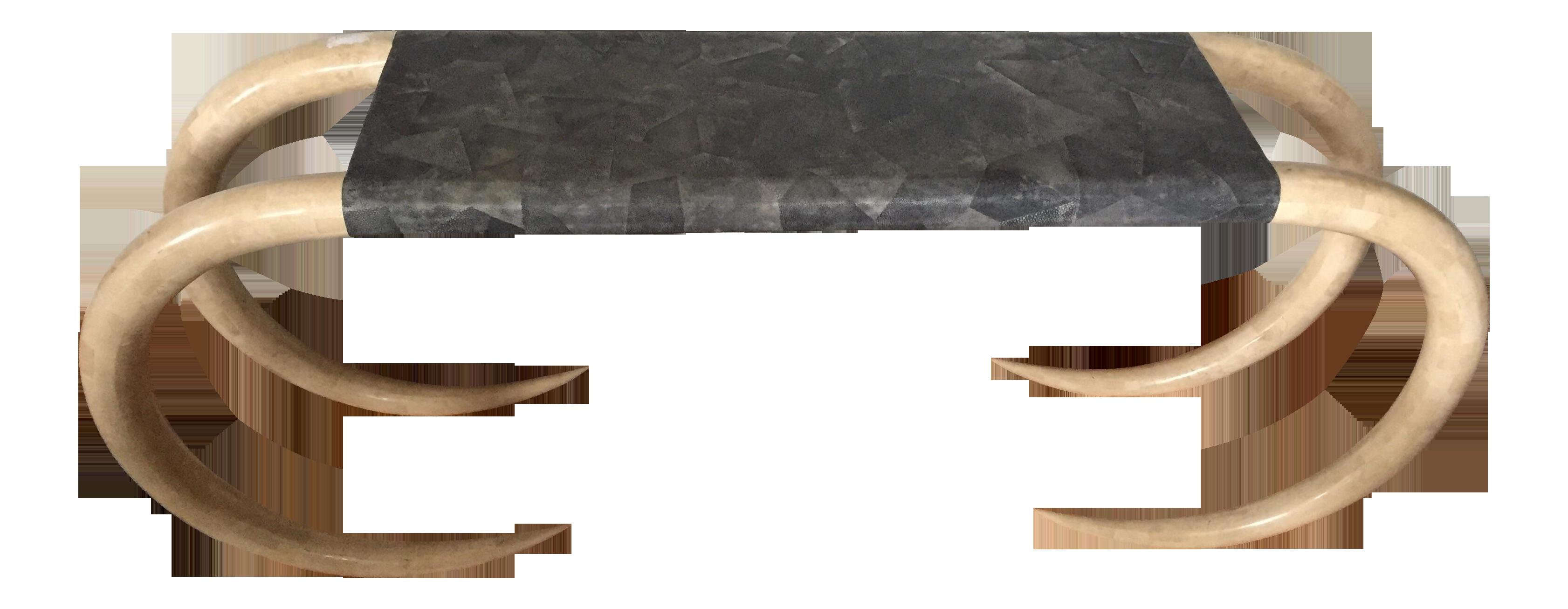 "Maitland Smith Tessellated Stone ""Tusk"" & Shagreen Console"