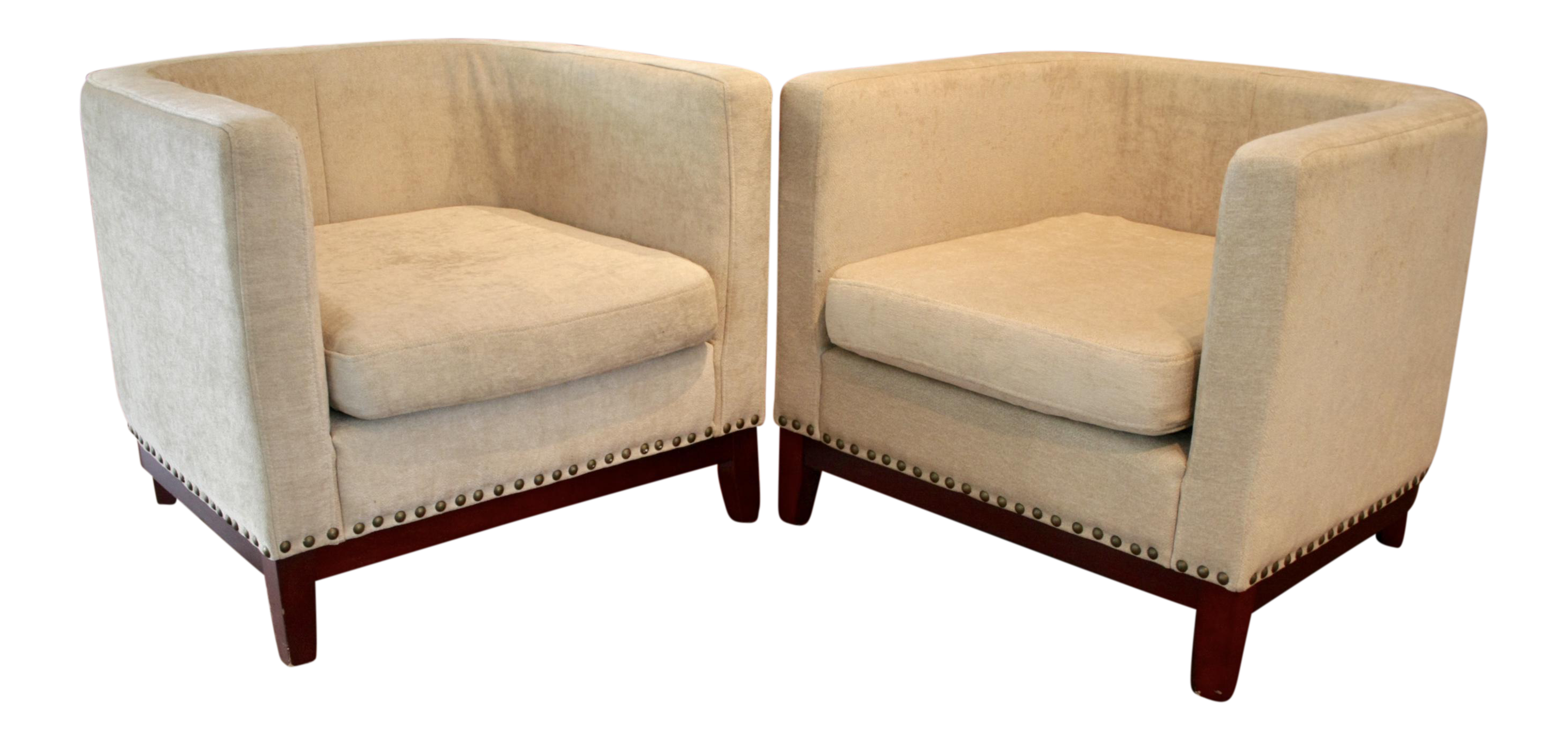 Curved lounge chairs a pair chairish for Curved lounge