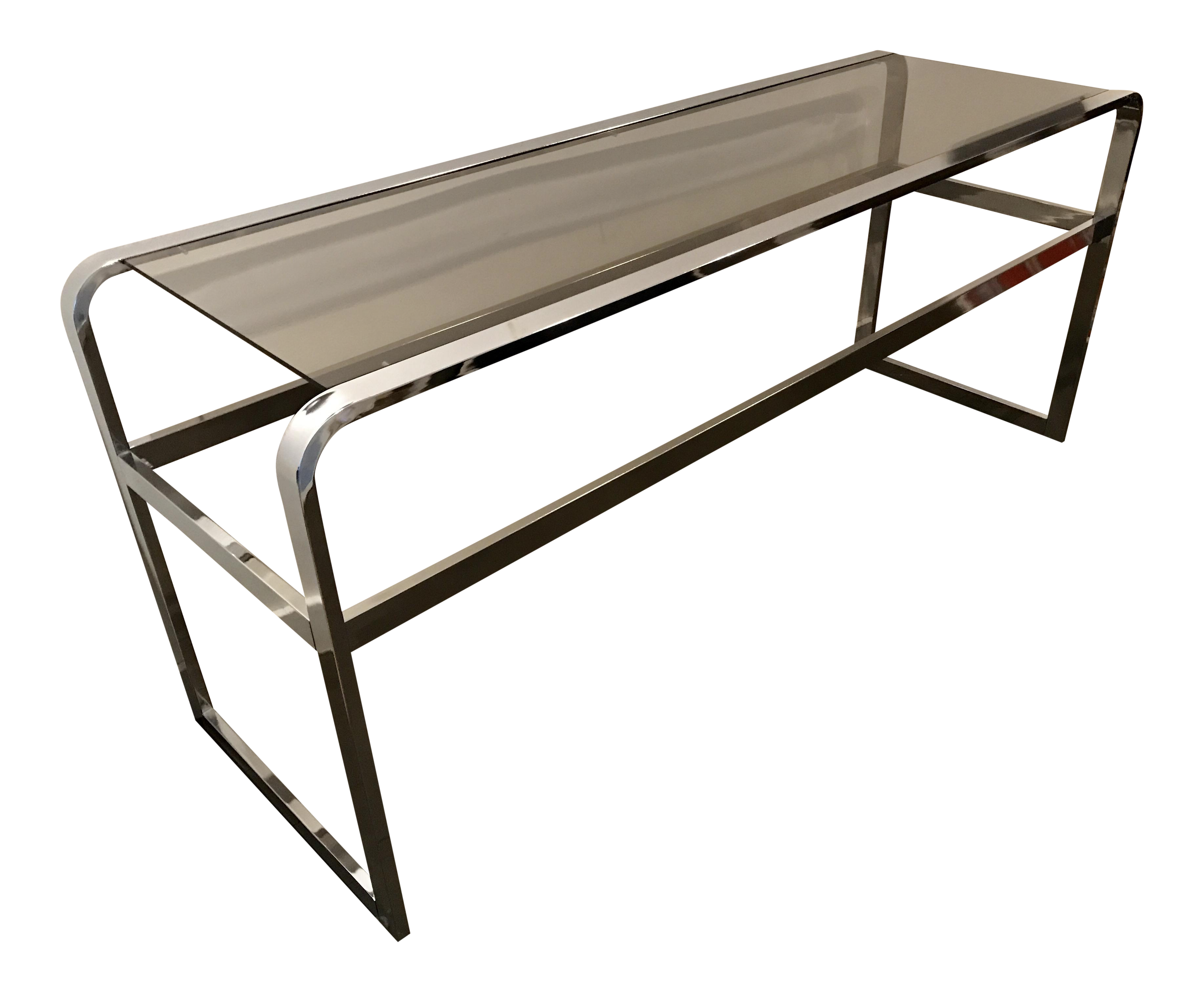 70 39 s chrome and smoked glass console table chairish for Sofa table 70