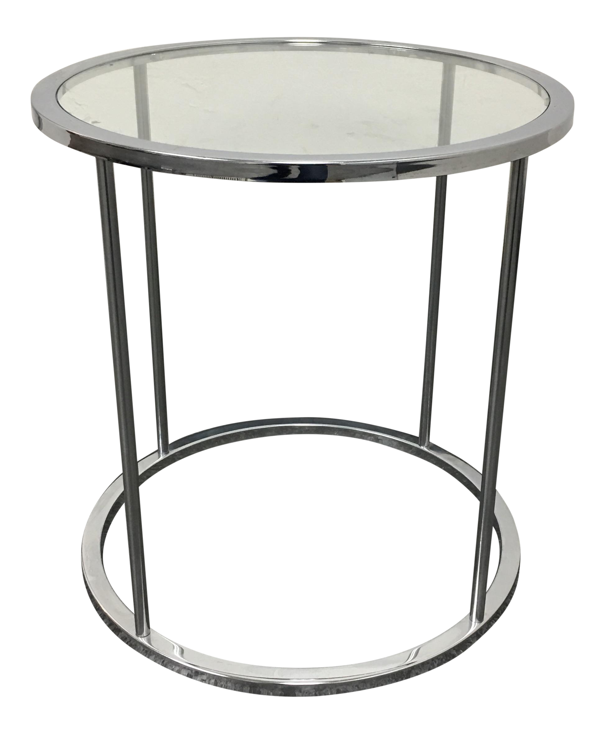Mid Century Round Chrome & Glass Side Table