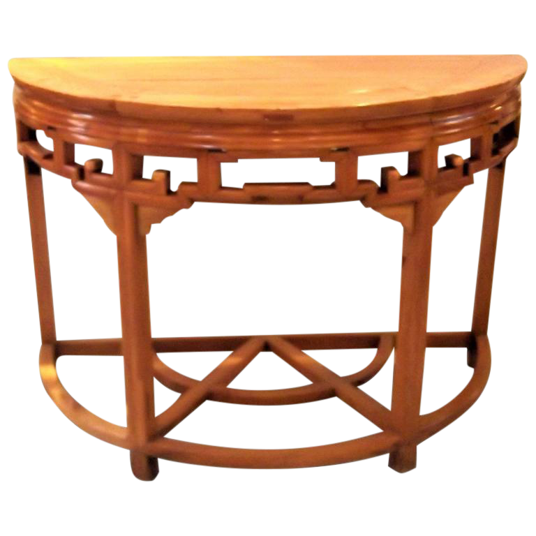 Asian style demi lune console table chairish - Table cuisine demi lune ...