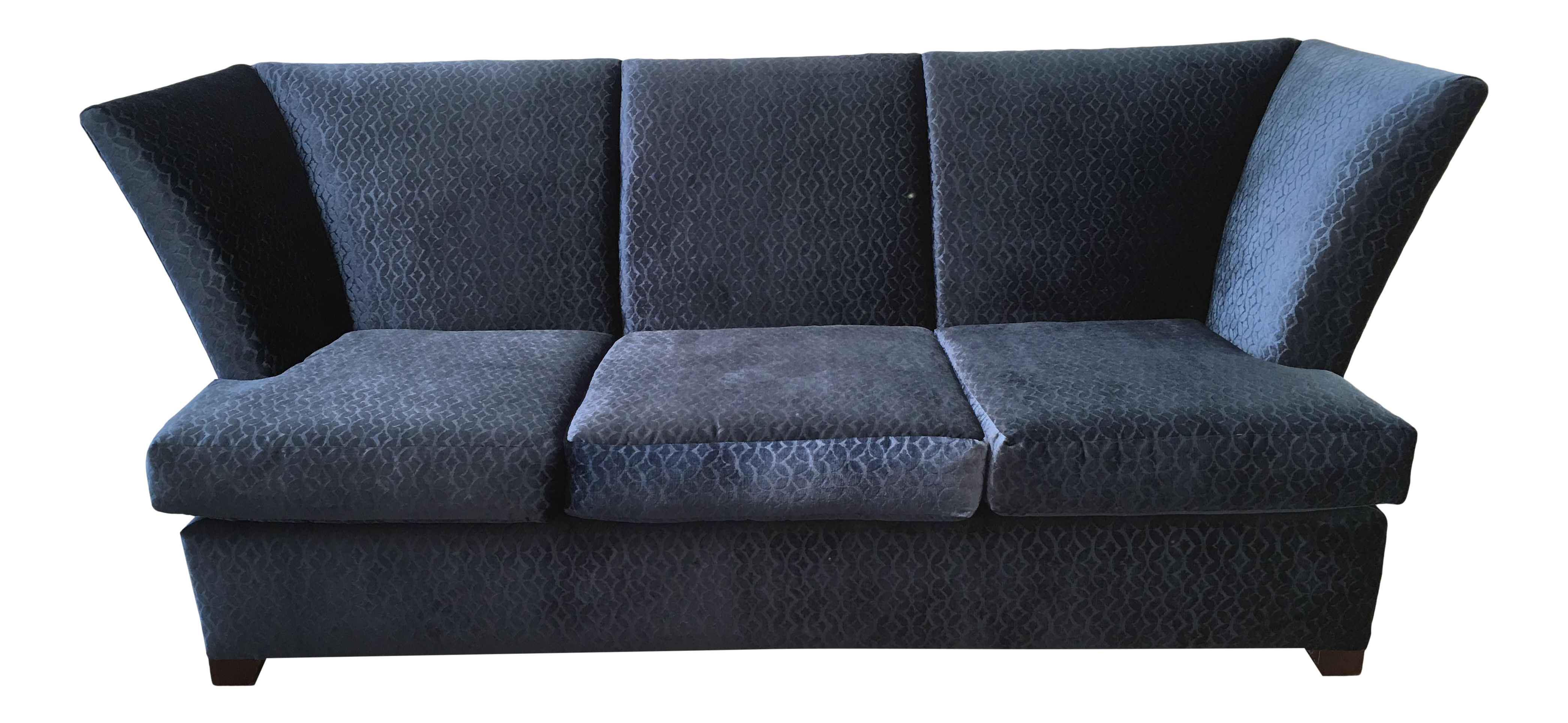 Contemporary Royal Blue Velvet Sofa by Gramercy Donghia