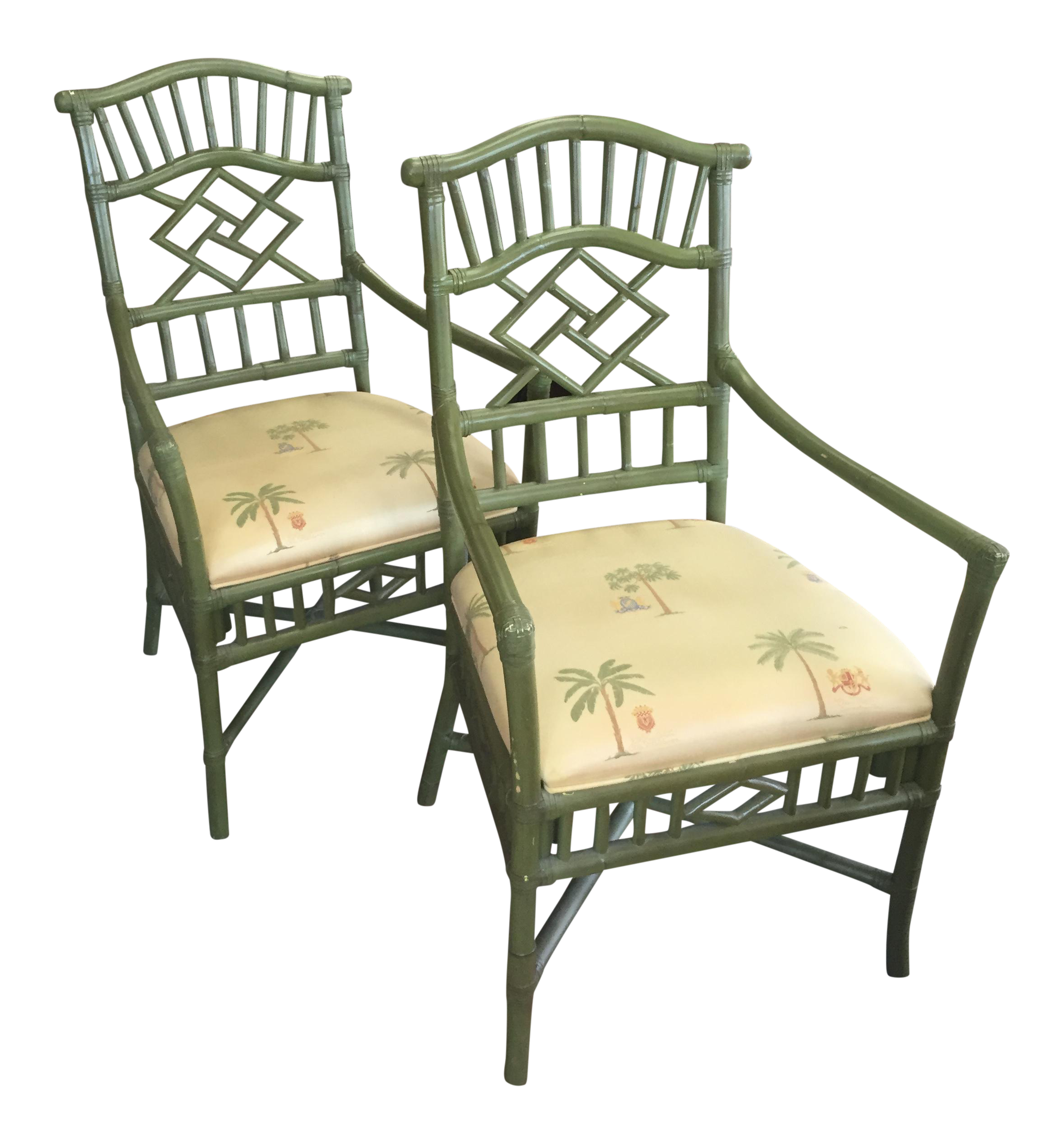 green tropical chinese chippendale chairs - a pair | chairish