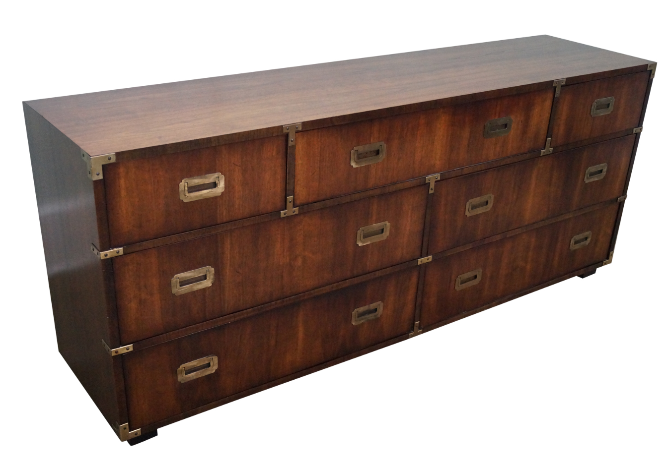 Lane Vintage Walnut Campaign Style Long Dresser | Chairish