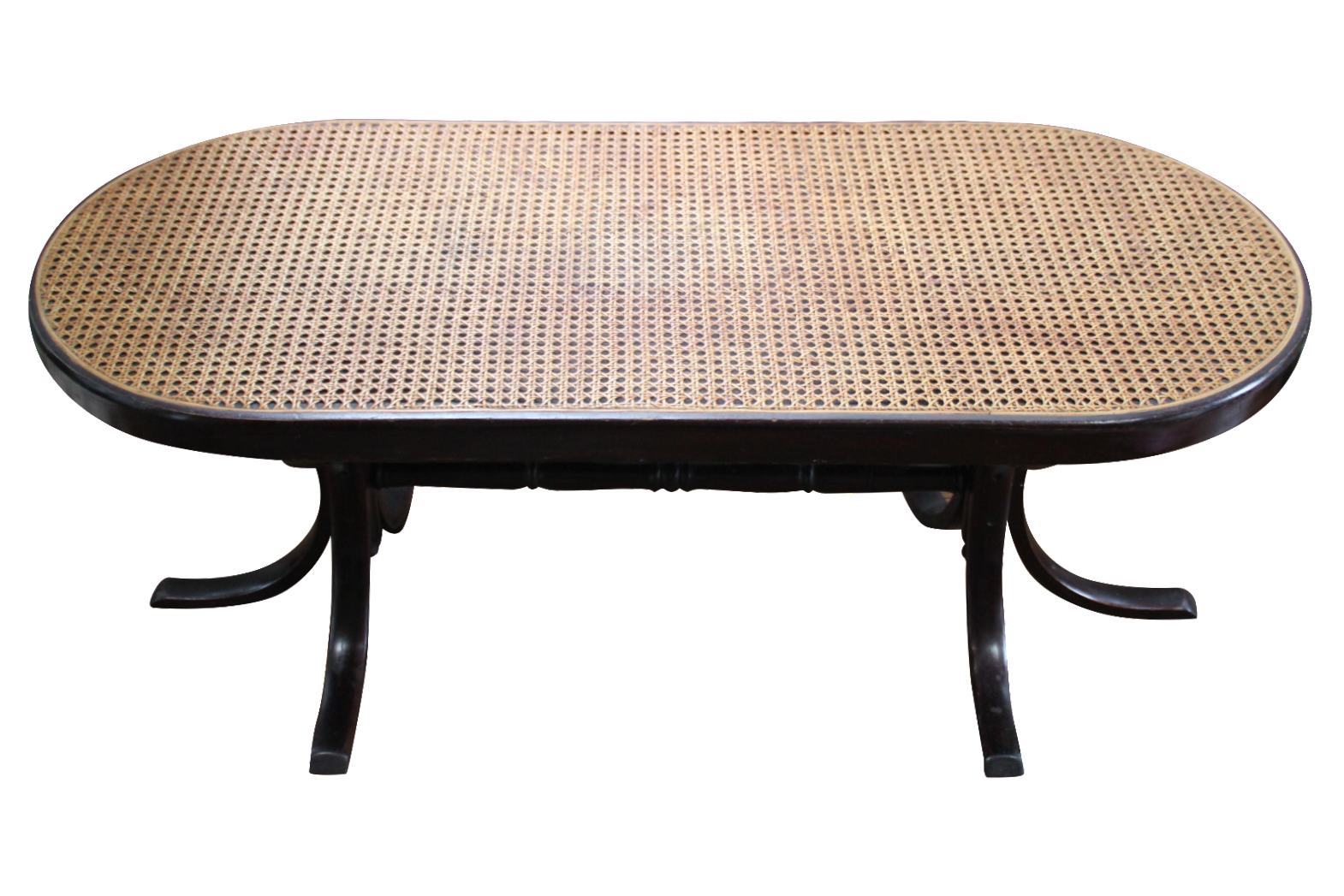 Mahogany bent wood caned coffee table chairish geotapseo Gallery