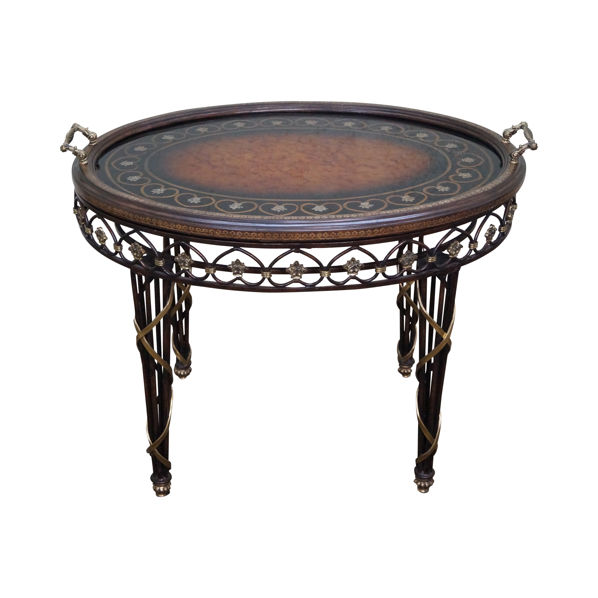 Coffee Table Tray Gold: Maitland Smith Iron & Brass Tray Top Coffee Table