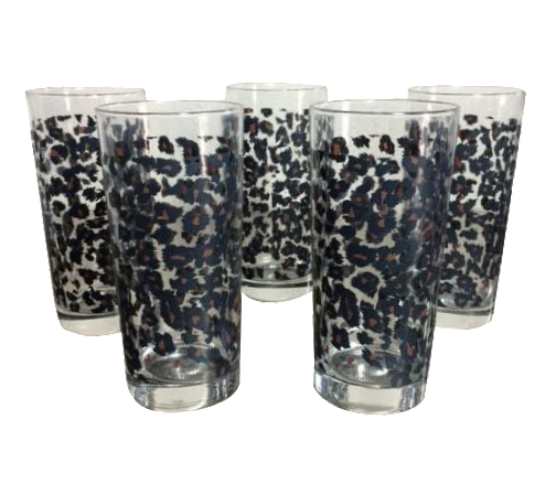 nicole miller leopard highball glasses set of 5 chairish