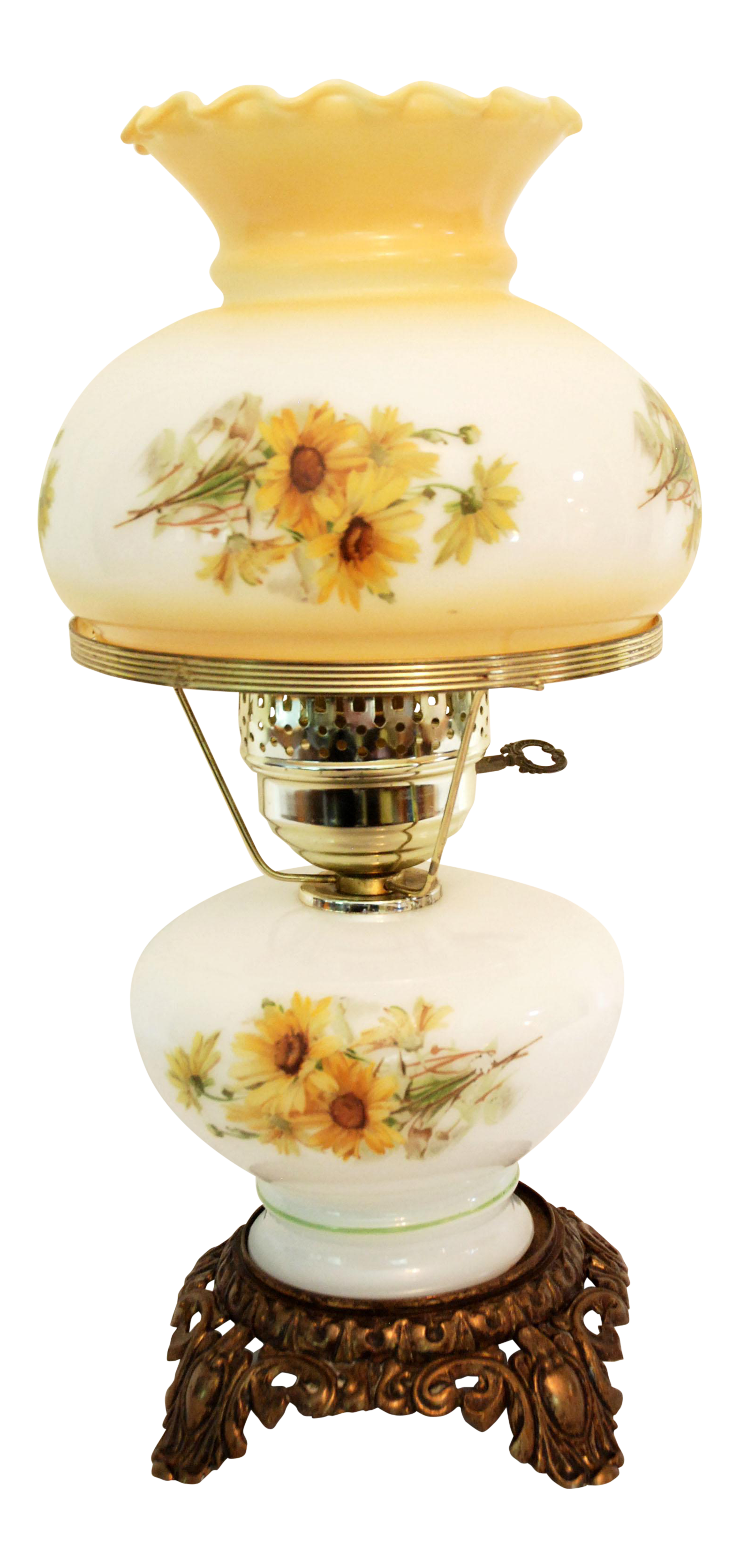 Mid Century Victorian Style Glass Hurricane Table Lamp