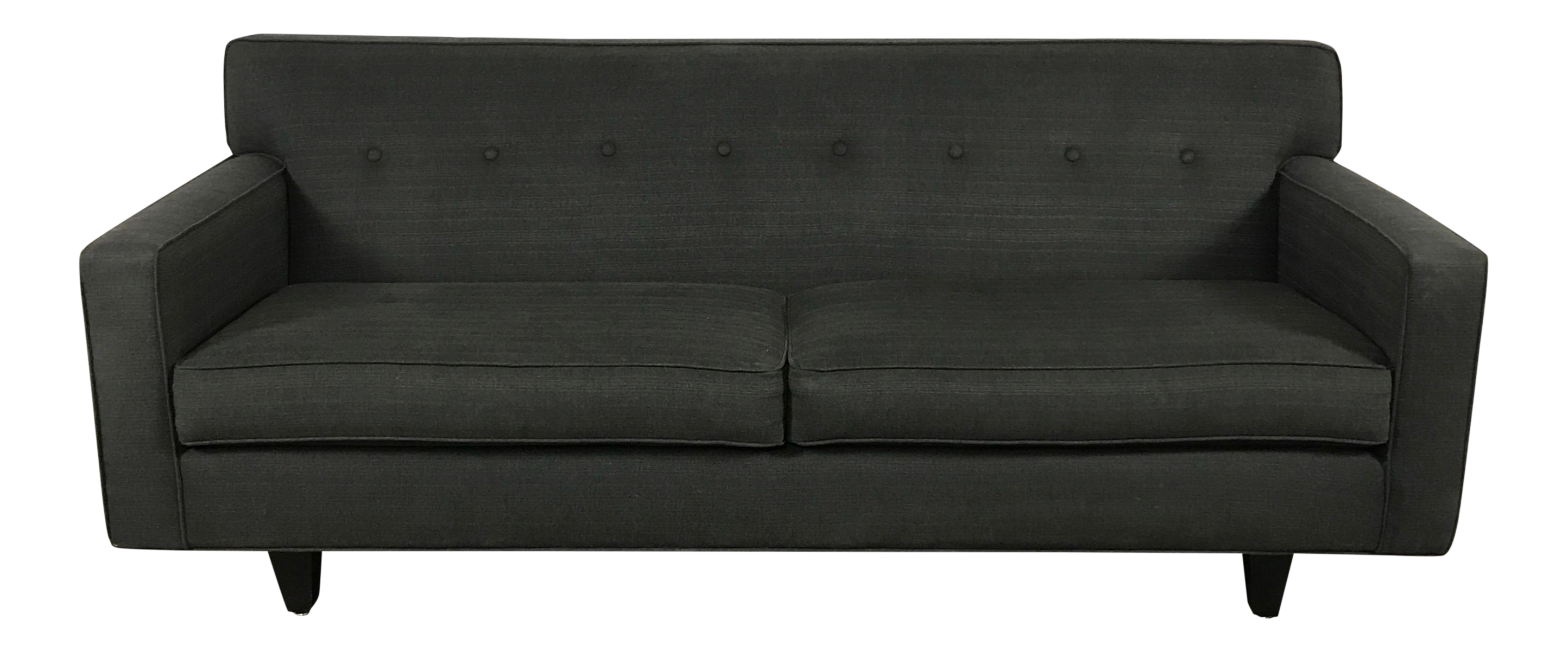 Charcoal Mid Century Modern Tufted Sofa by Rowe Furniture