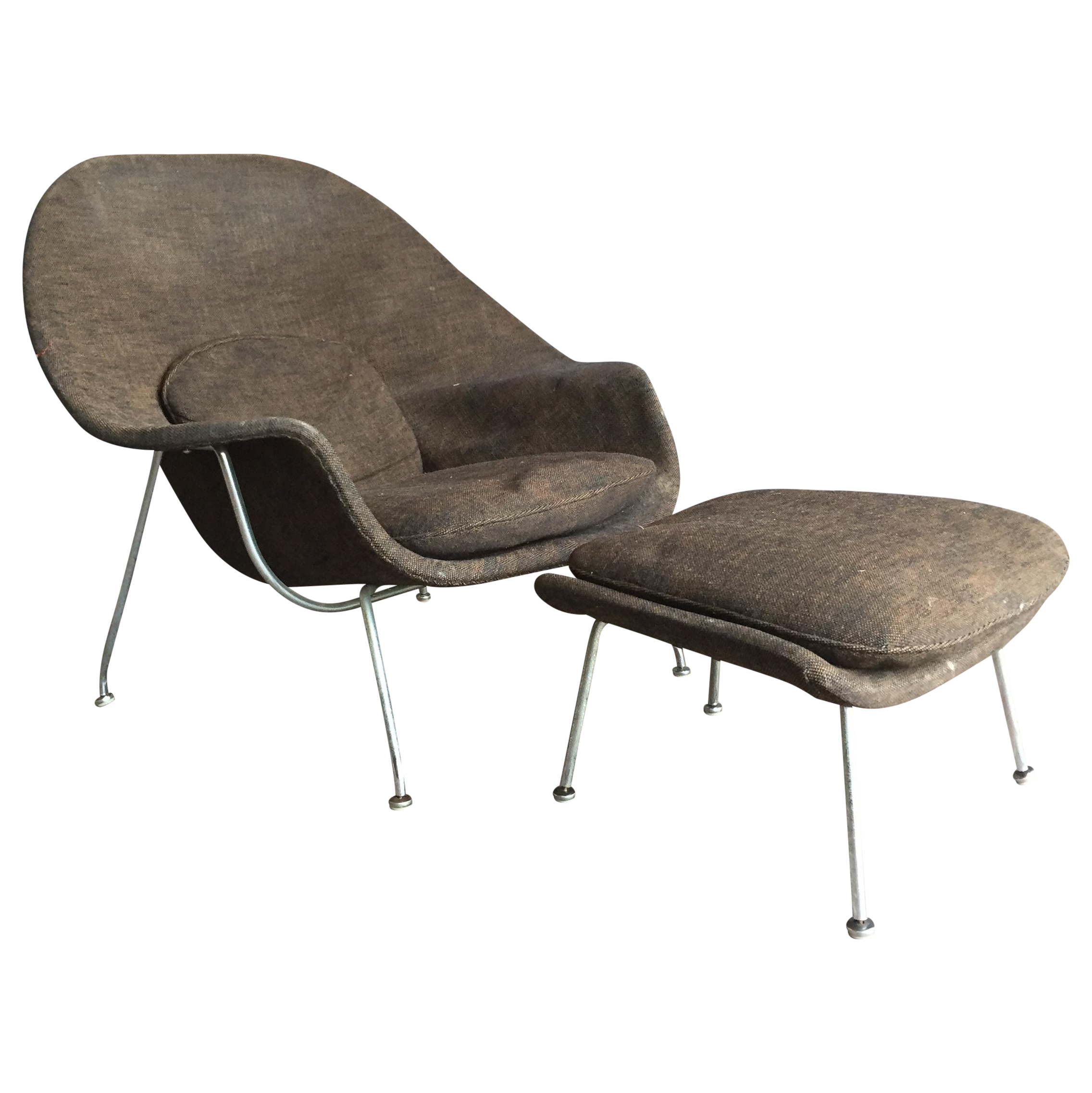 Eero Saarinen for Knoll Early Womb Chair & Ottoman | Chairish - Image of Eero Saarinen for Knoll Early Womb Chair & Ottoman