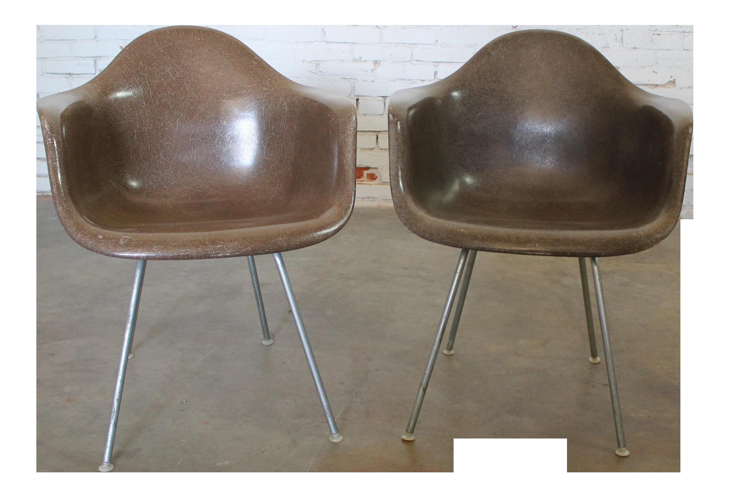 Herman Miller Eames Molded Fiberglass Seal Brown DAX Arm Shell