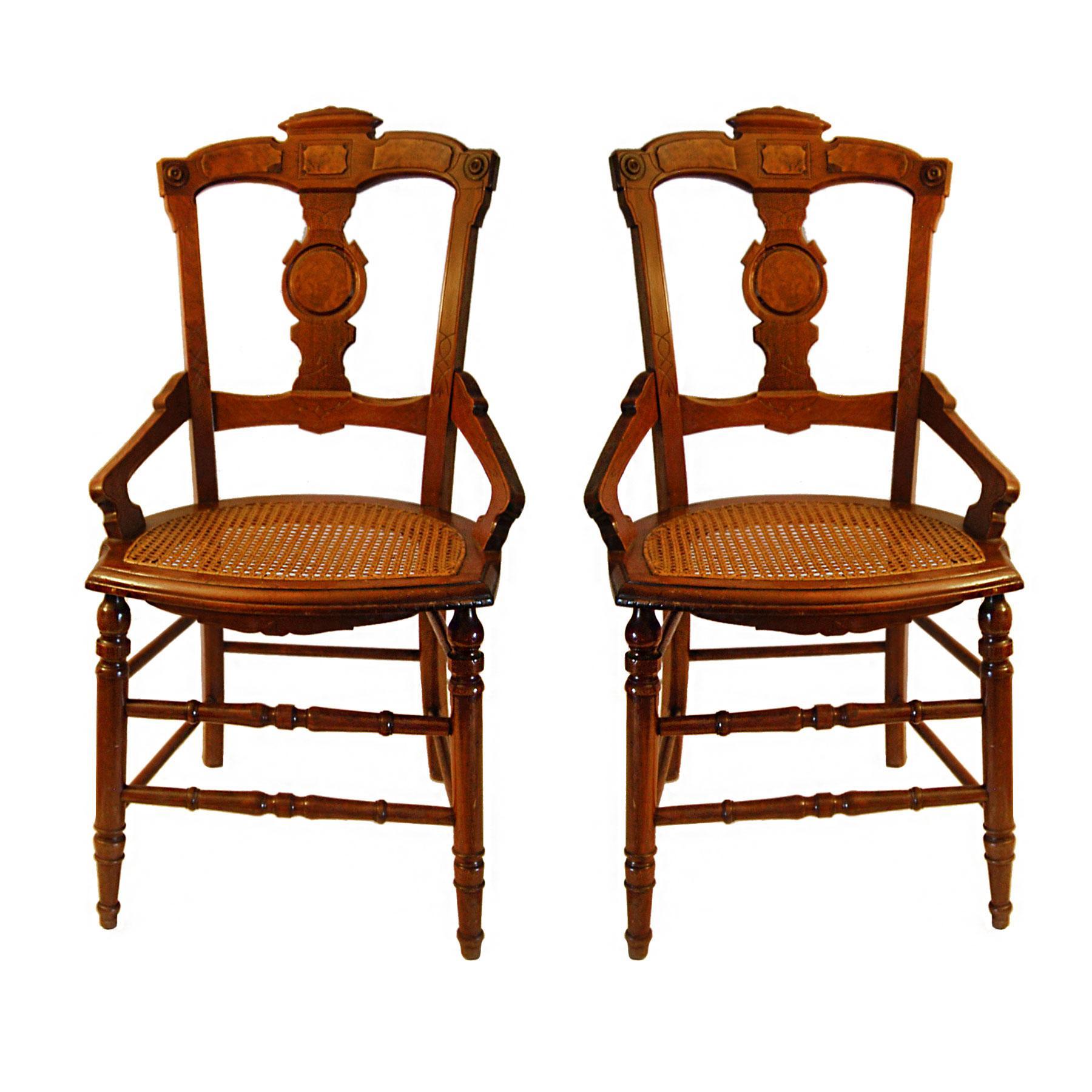 Antique Dutch Cane Bottom Chairs Pair Chairish