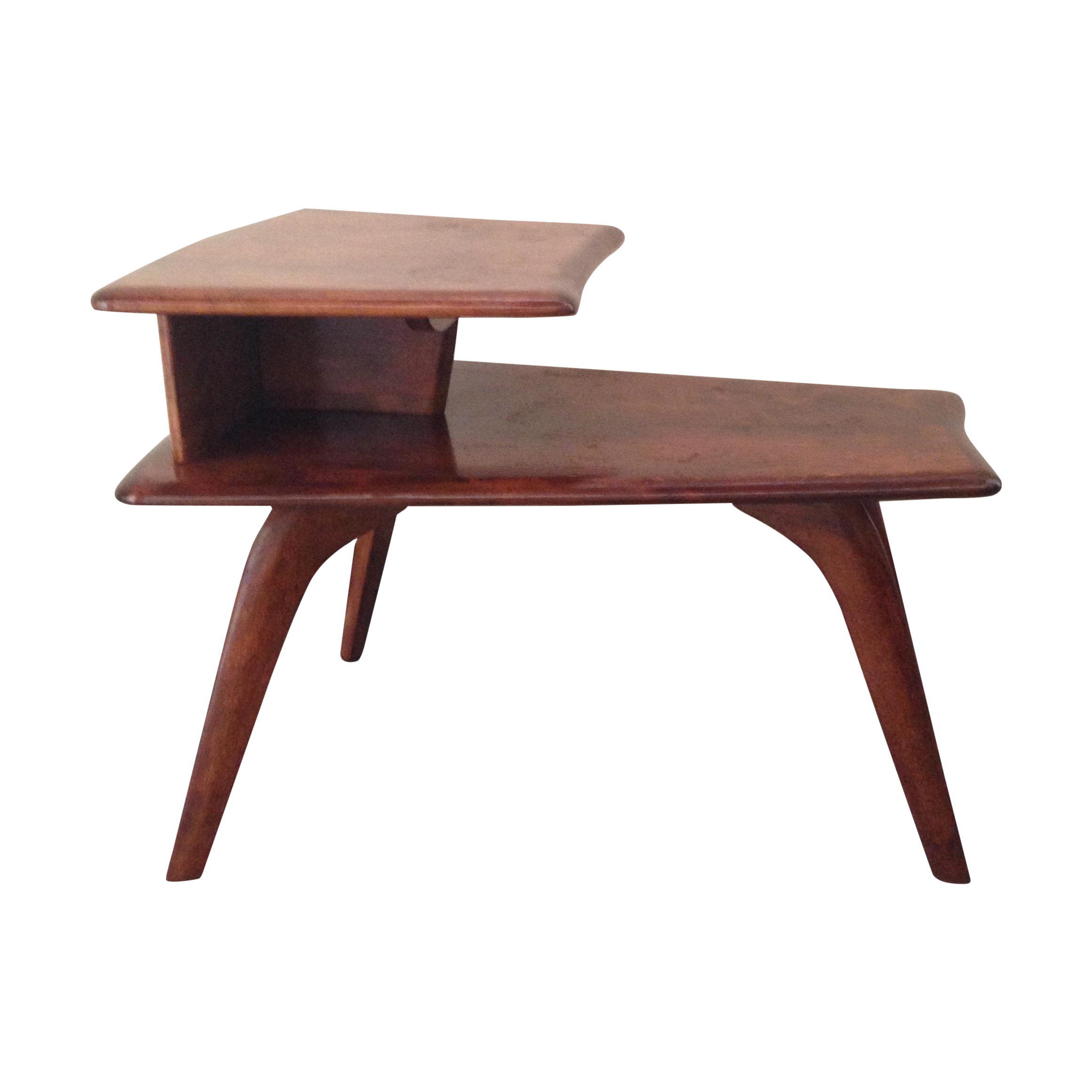 heywood-wakefield tiered wedge table | chairish
