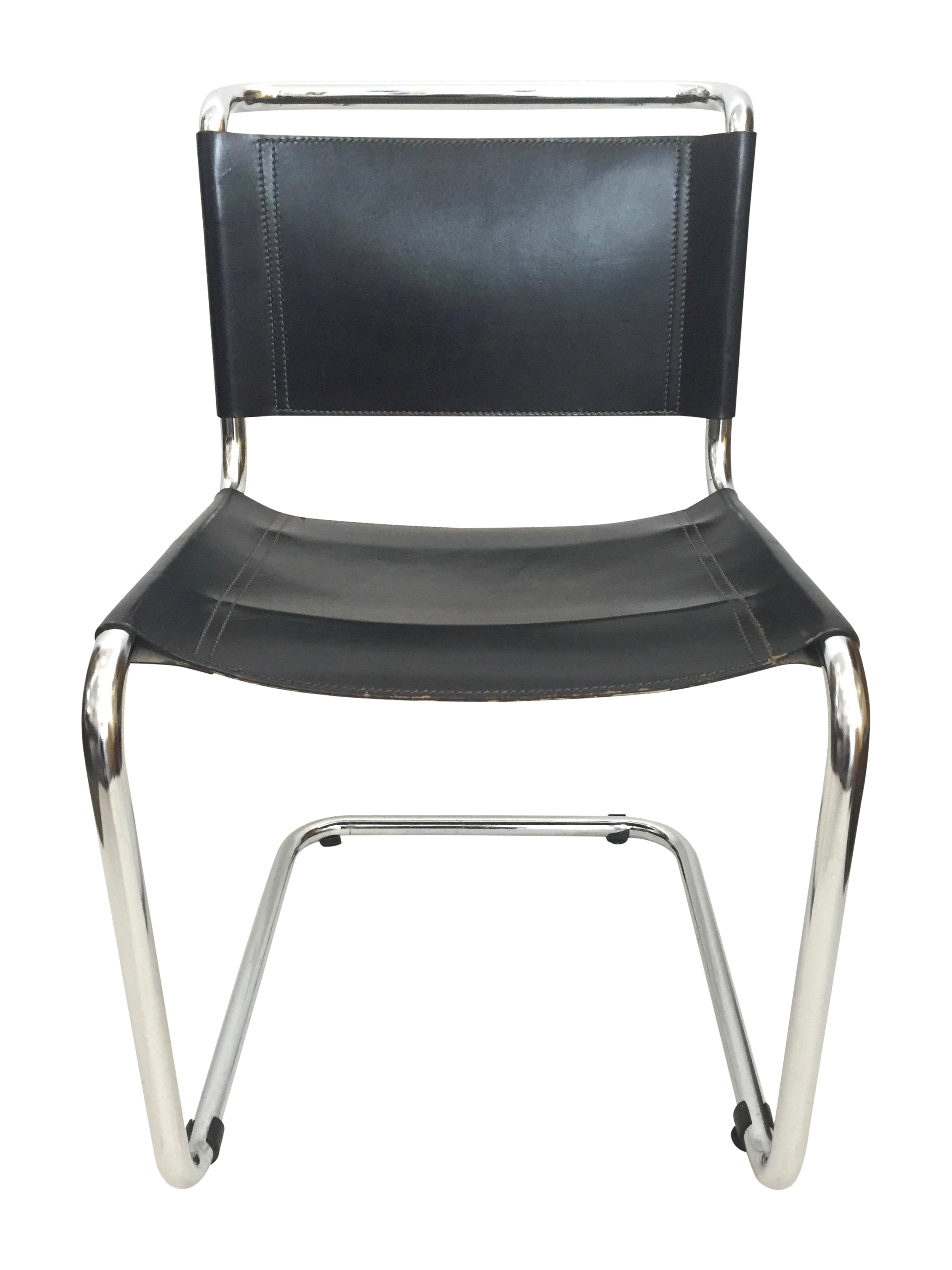 Marcel Breuer Vintage Spoleto Black Leather Chair