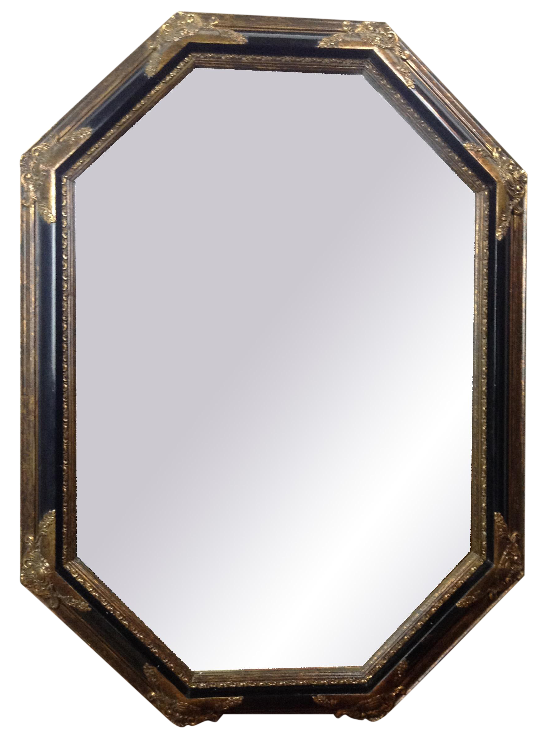 vintage hollywood regency black gilded mirror chairish. Black Bedroom Furniture Sets. Home Design Ideas