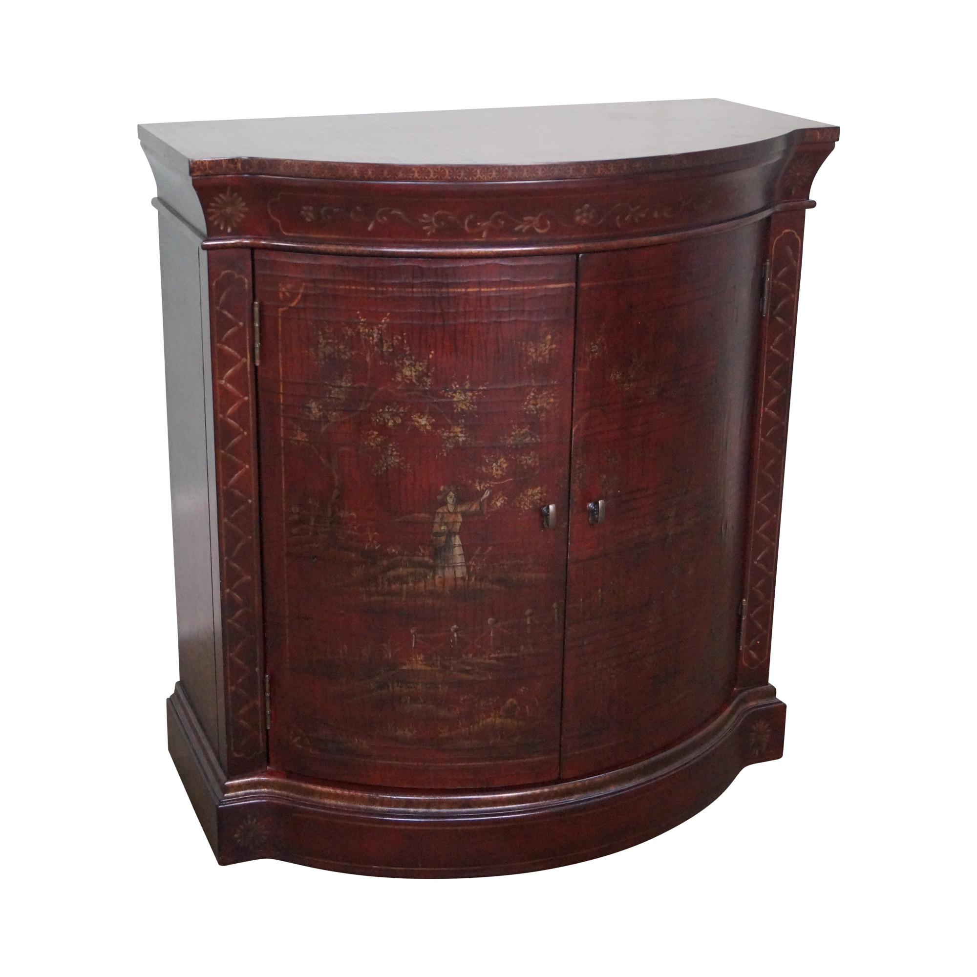 Ethan Allen Chinoiserie Crackle Painted 2 Door Demilune  : ethan allen chinoiserie crackle painted 2 door demilune console 6648 from www.chairish.com size 2000 x 2000 jpeg 226kB