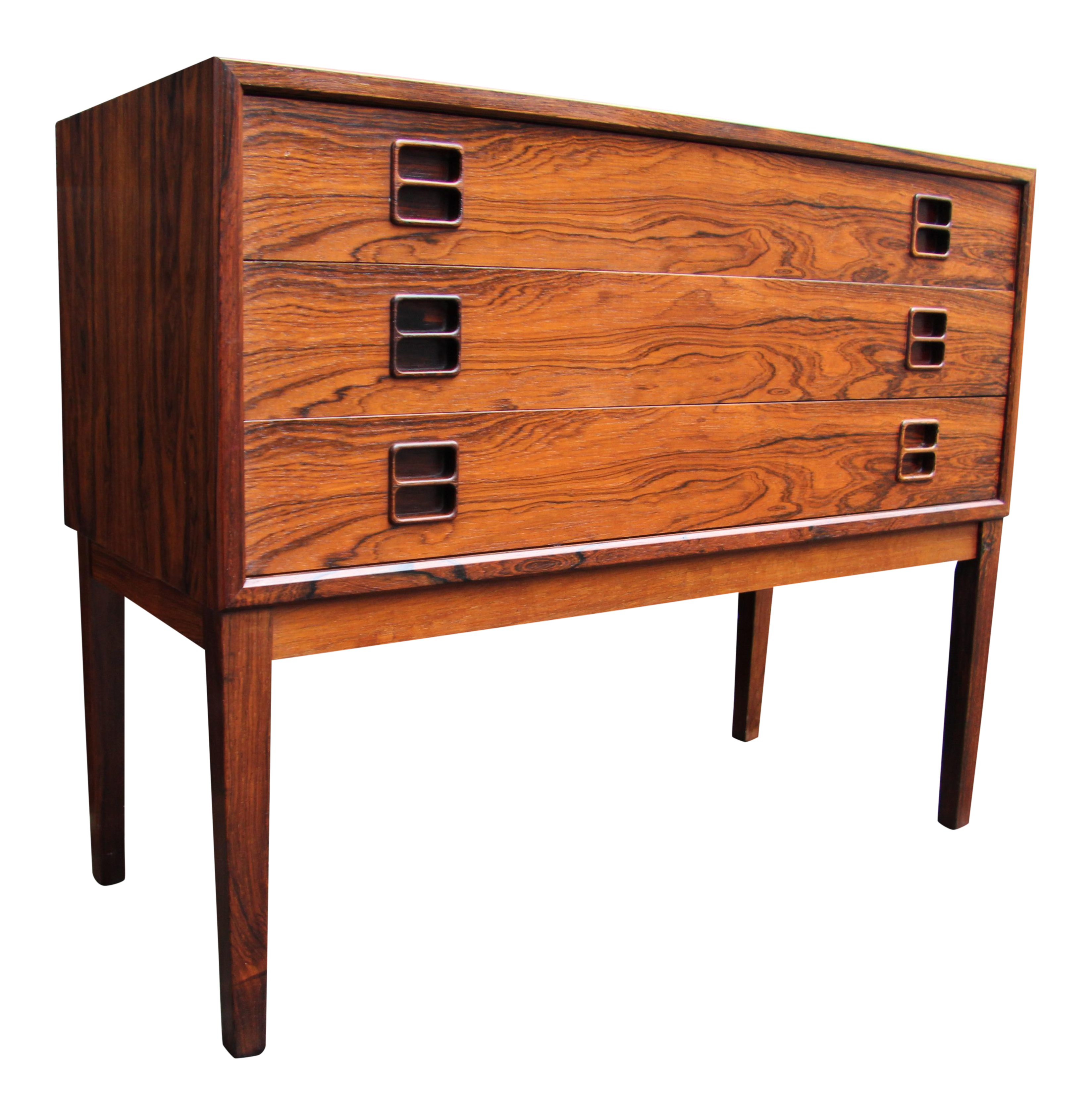 Mid Century Danish Modern Small Scale Drawer Coffee Table: Mid-Century Modern Danish Rosewood Three-Drawer Chest