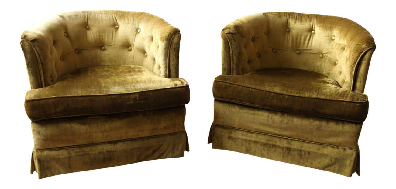 This mid century tufted club chairs is no longer available - Image Of Mid Century Chartreuse Tufted Lounge Chairs A Pair
