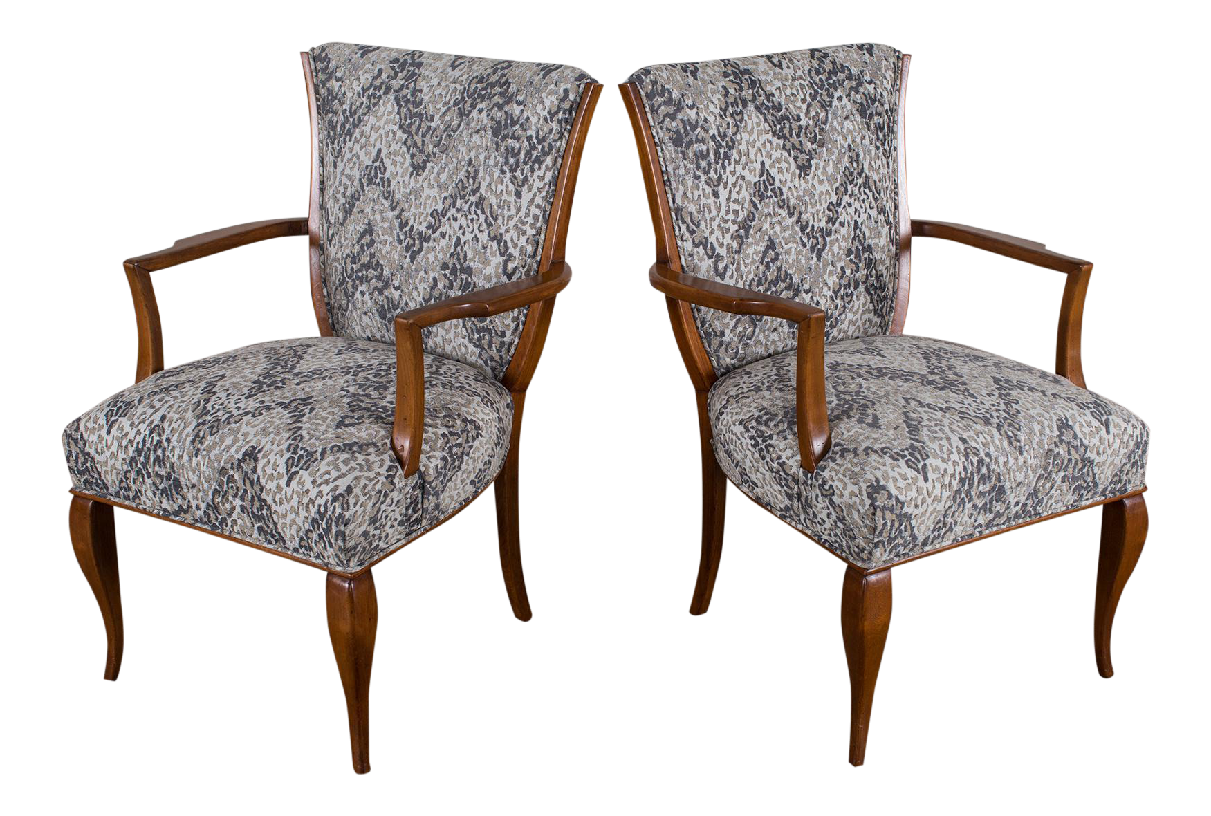 Image Of Pair Of Vintage French Art Deco Beechwood Chairs Circa 1940