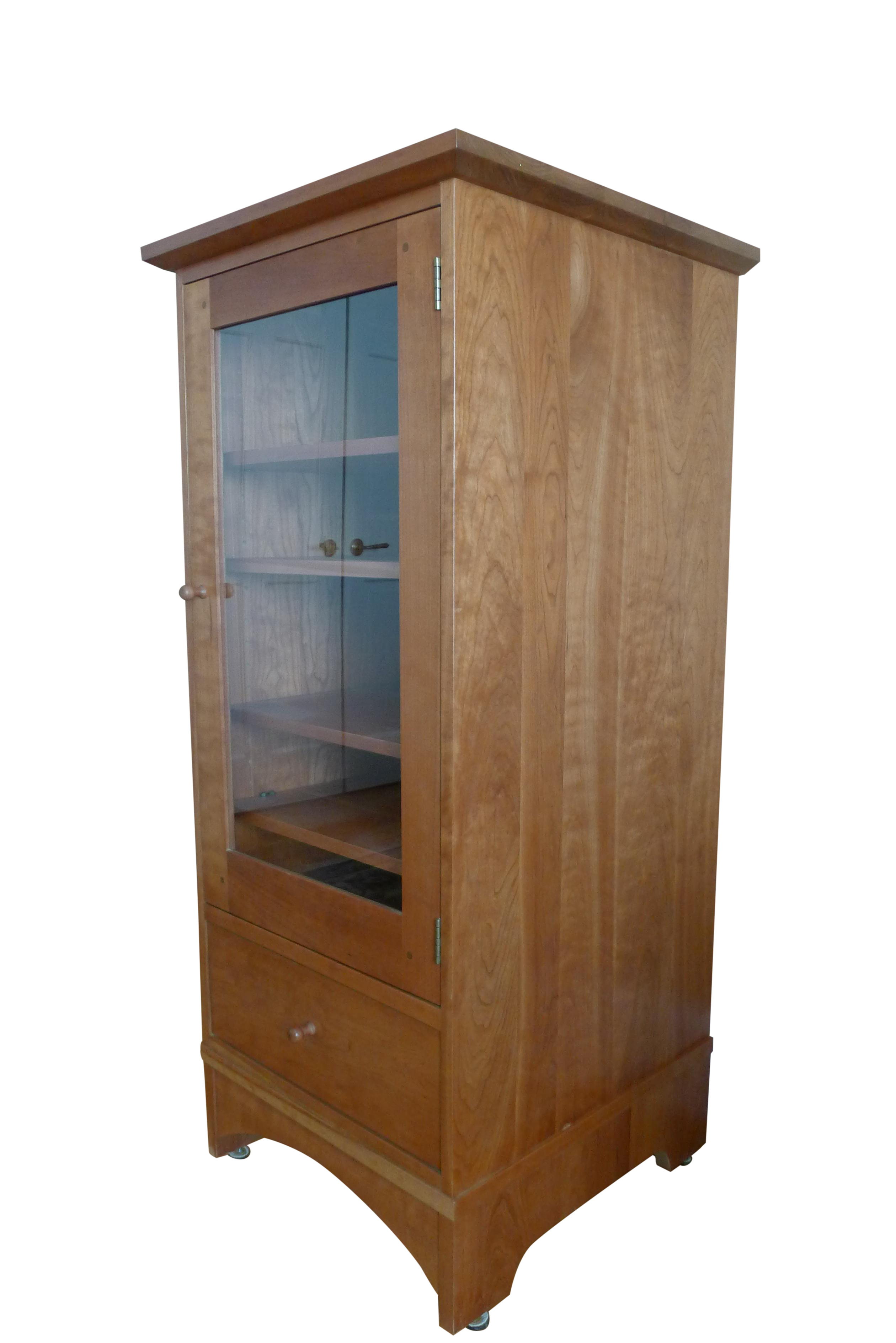 Stickley Mission Cherry Glass Door Stereo Cabinet Chairish
