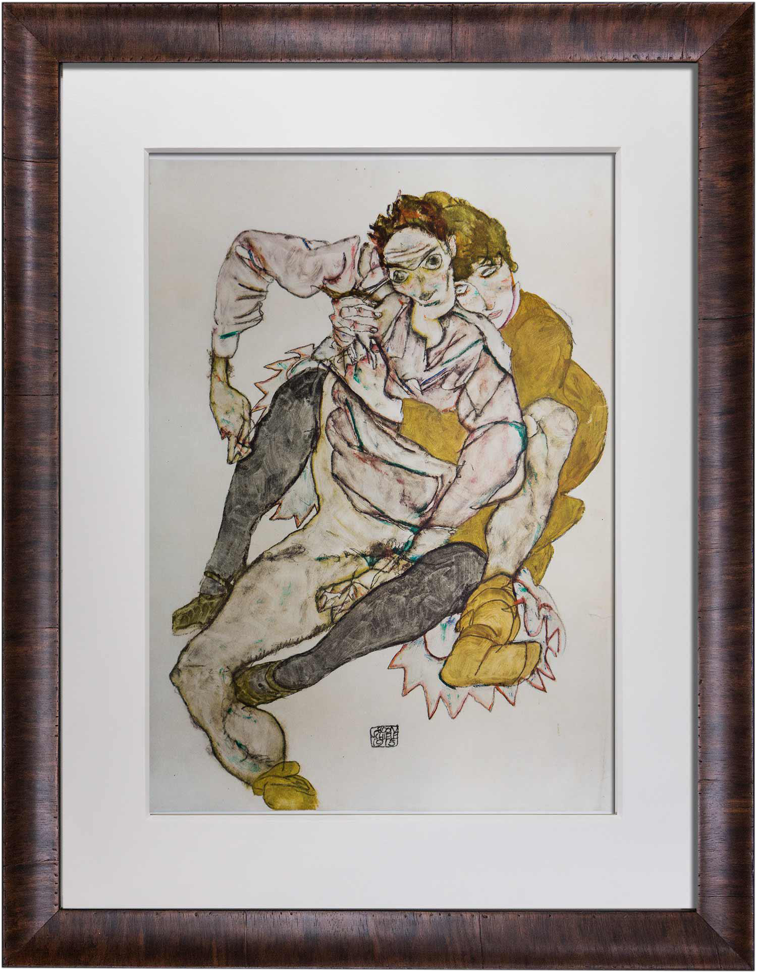Egon Schiele Couple Limited Edition Lithograph Chairish