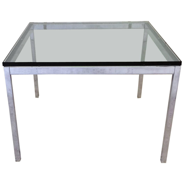 florence knoll glass top & chrome side table | chairish