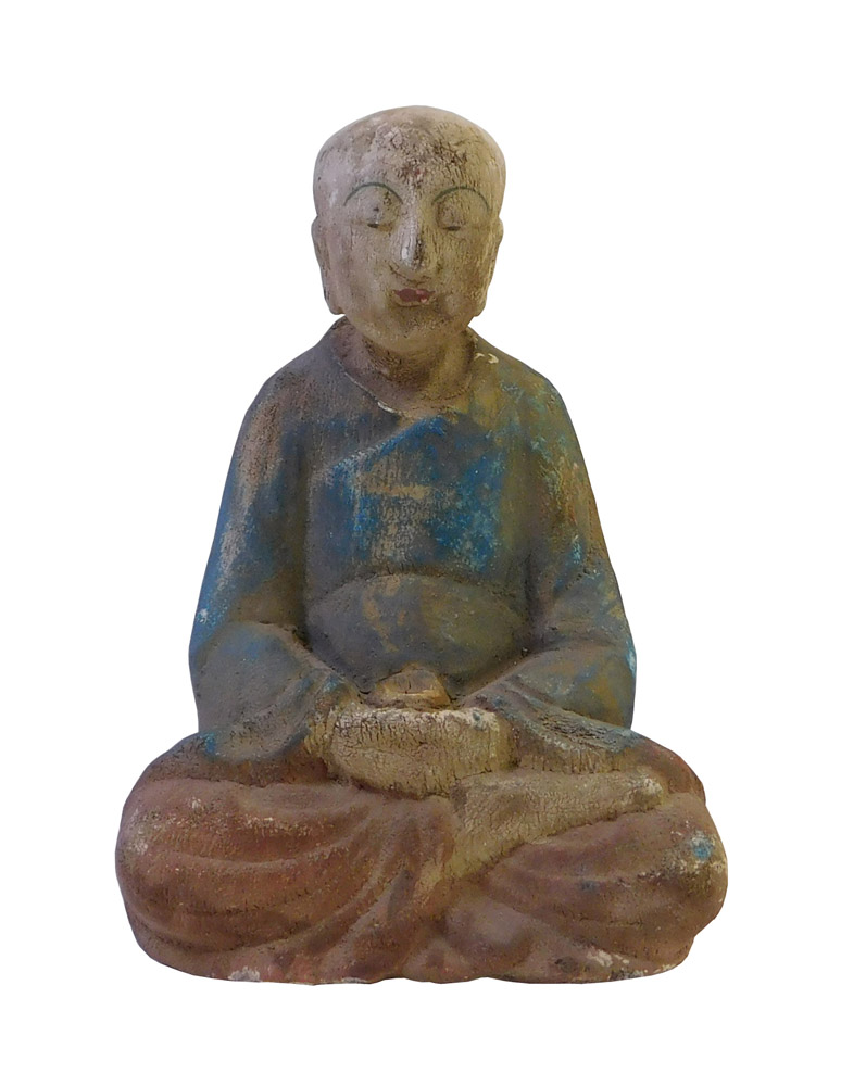 Chinese Rustic Wood Sitting Monk Statue Chairish