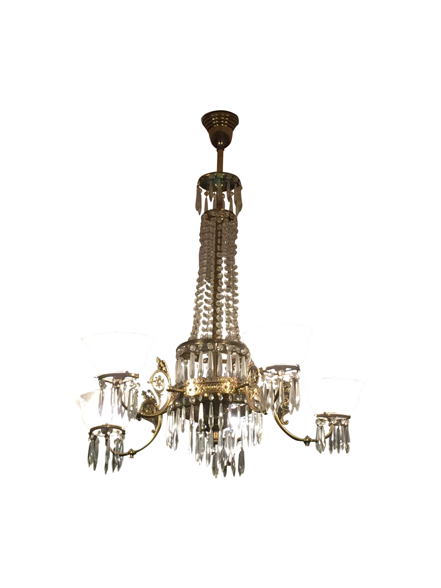 5-Armed Crystal Chandelier : Chairish