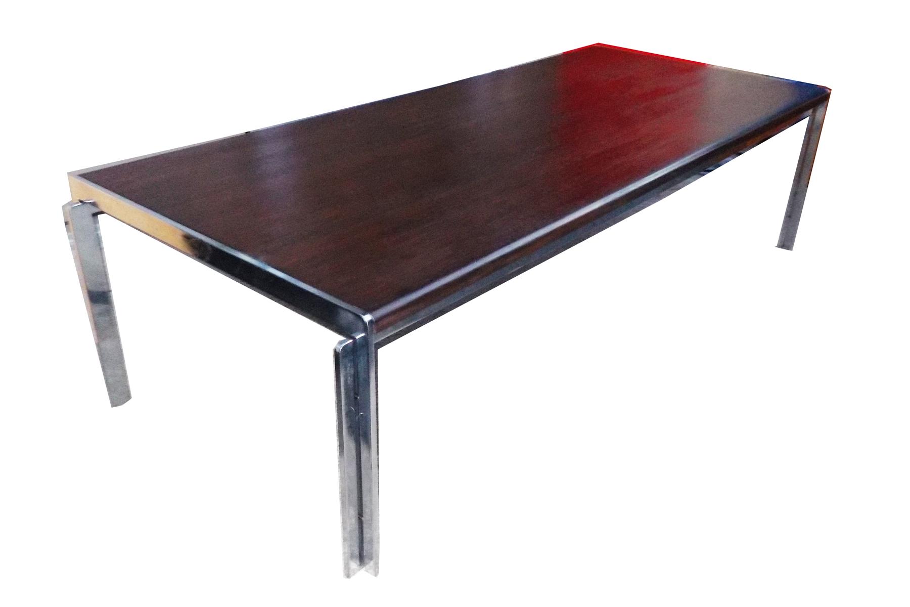 stow davis vintage wood & chrome coffee table | chairish