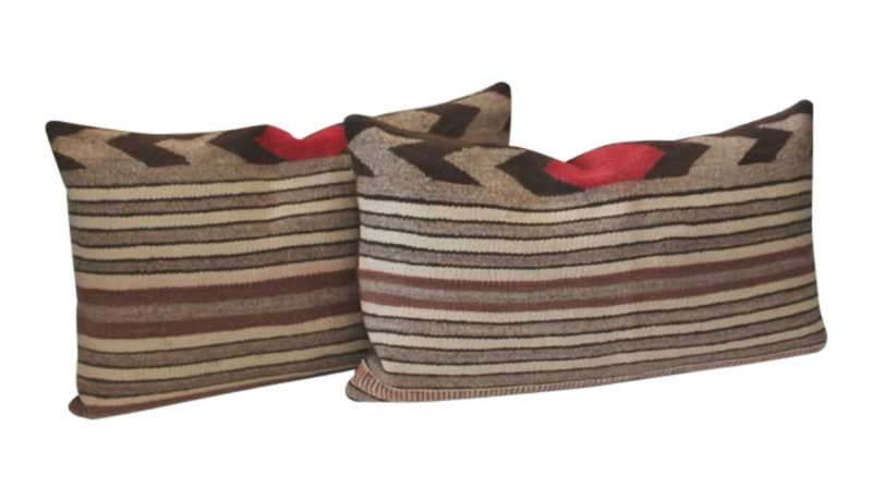 Distinguished Fantastic Pair Of Navajo Saddle Blanket