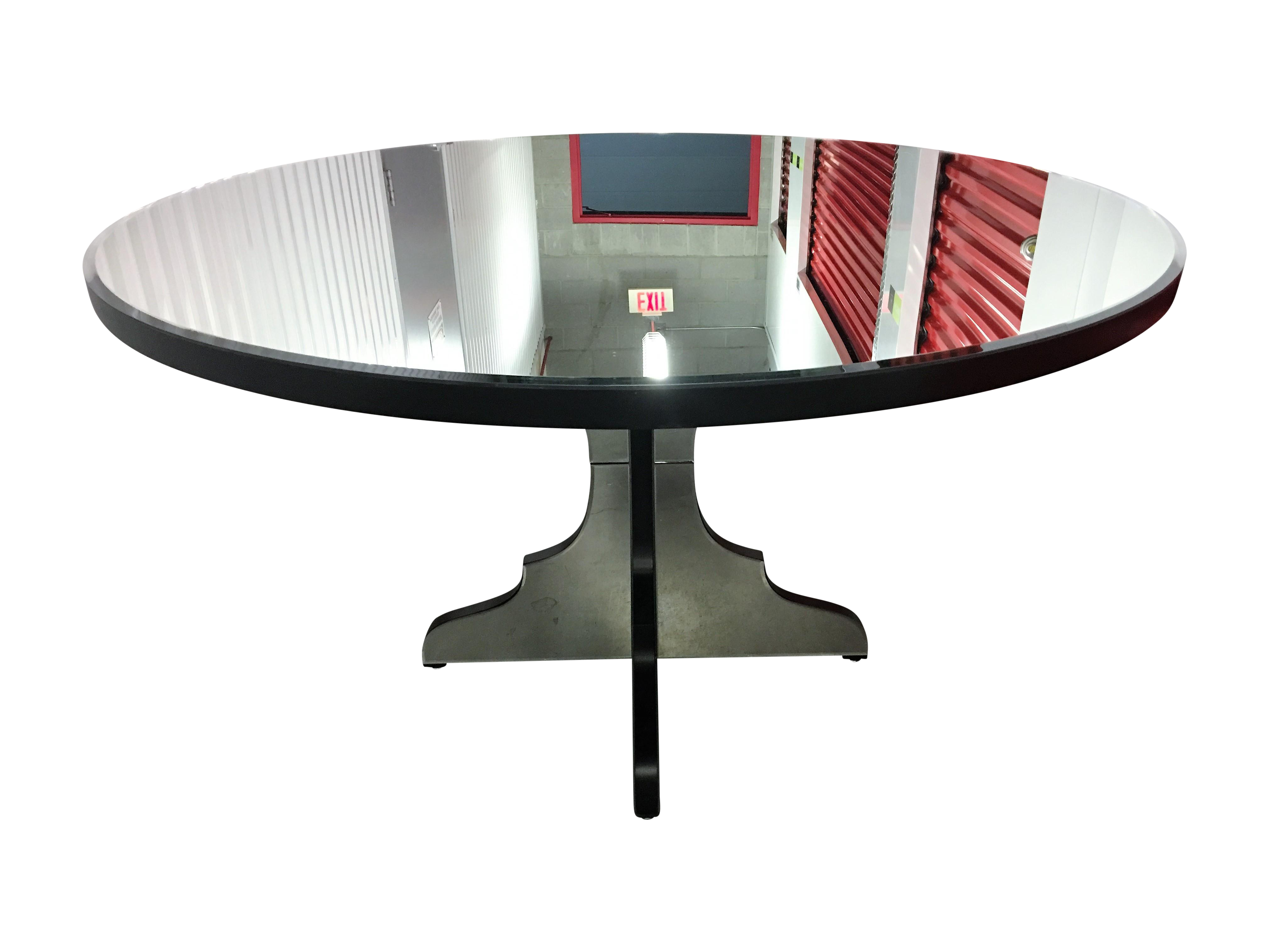 round beveled mirror dining entryway table chairish. Black Bedroom Furniture Sets. Home Design Ideas
