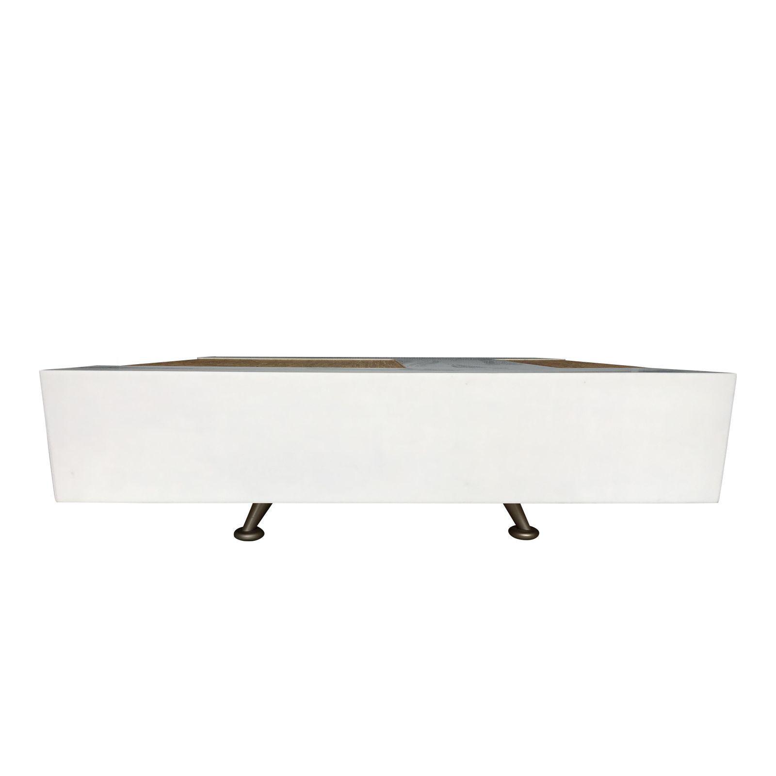 Dune Modern White Plastic And Bamboo Coffee Table Chairish