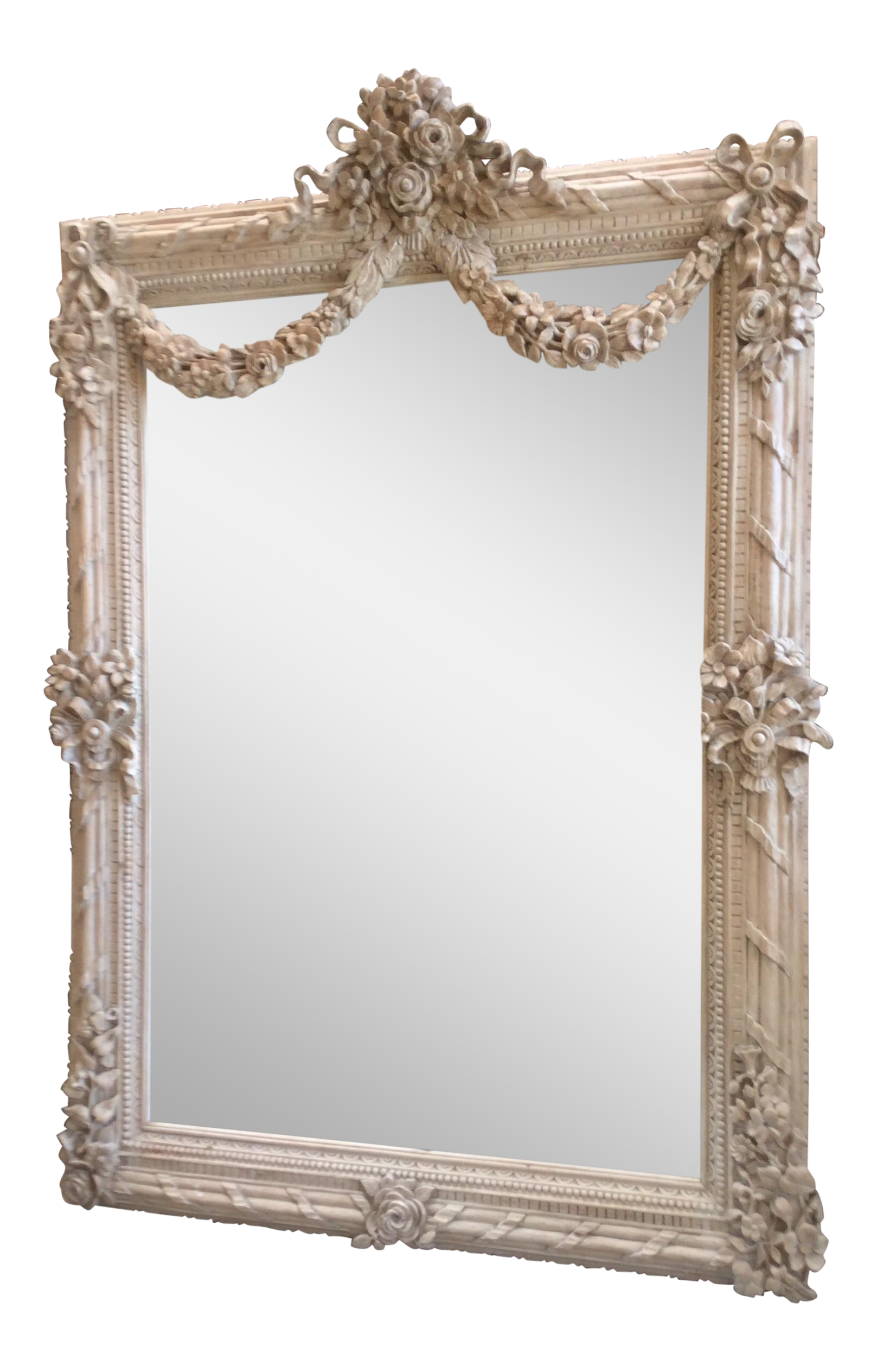 Antique Style White Washed French Mirror Chairish