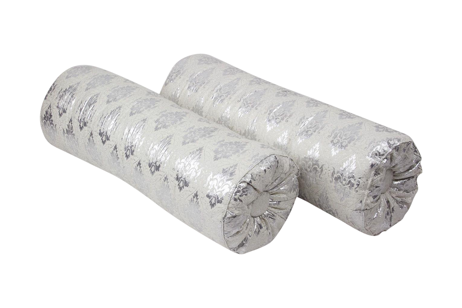 image of silk metallic bolster pillows a pair