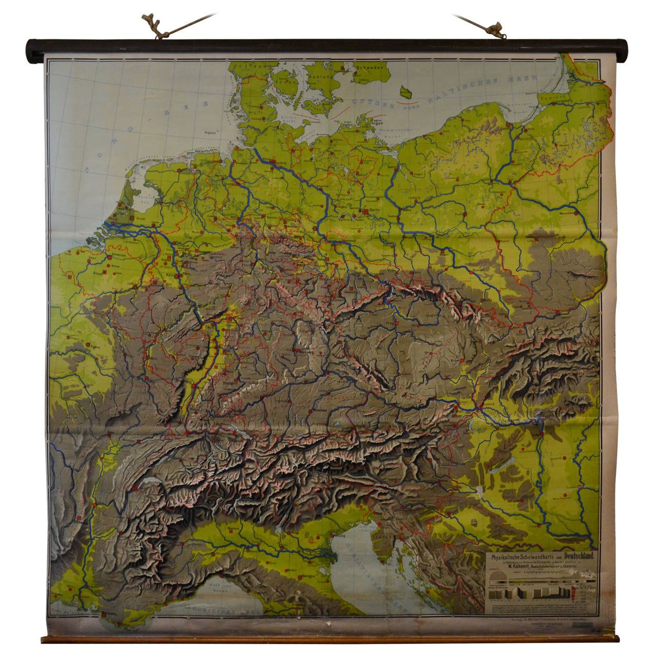 Schoolroom Topographic Map Of Germany Chairish