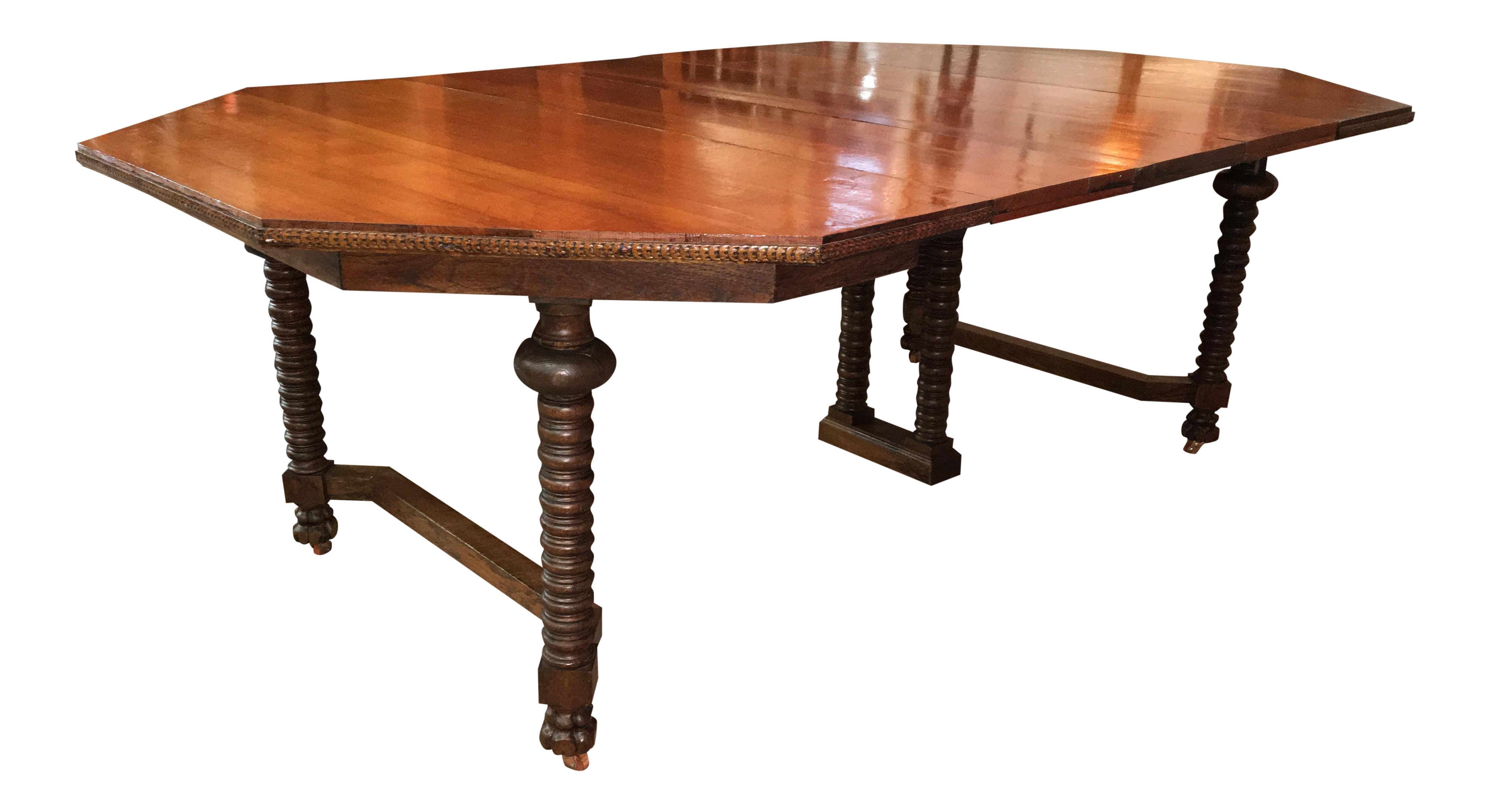 19th c red oak dining table chairish for Hades dining table th8