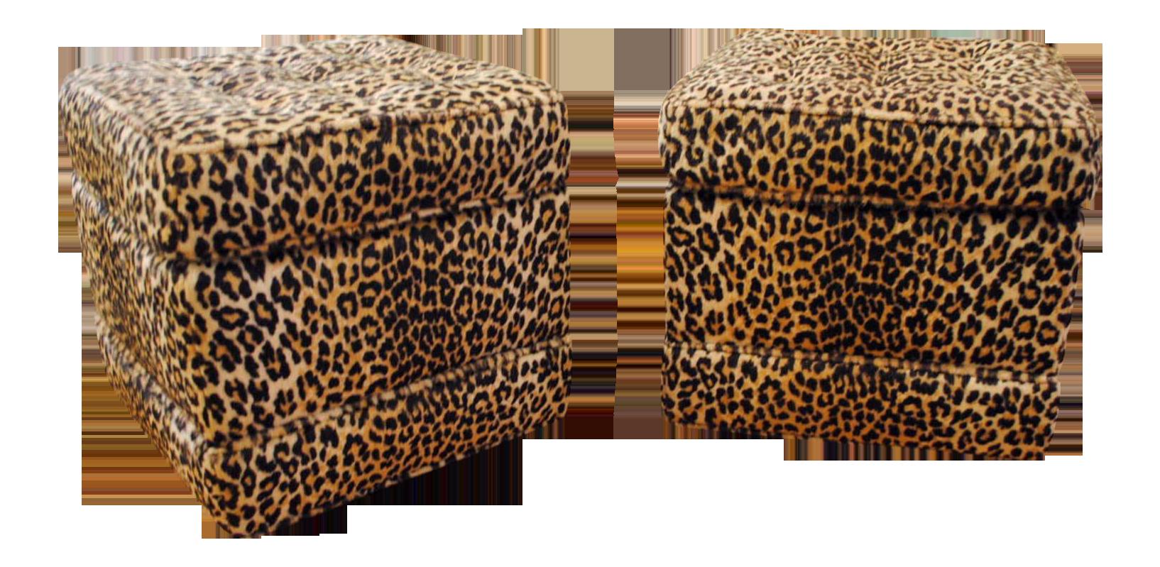 Mid Century Rolling Leopard Print Ottomans Pair Chairish
