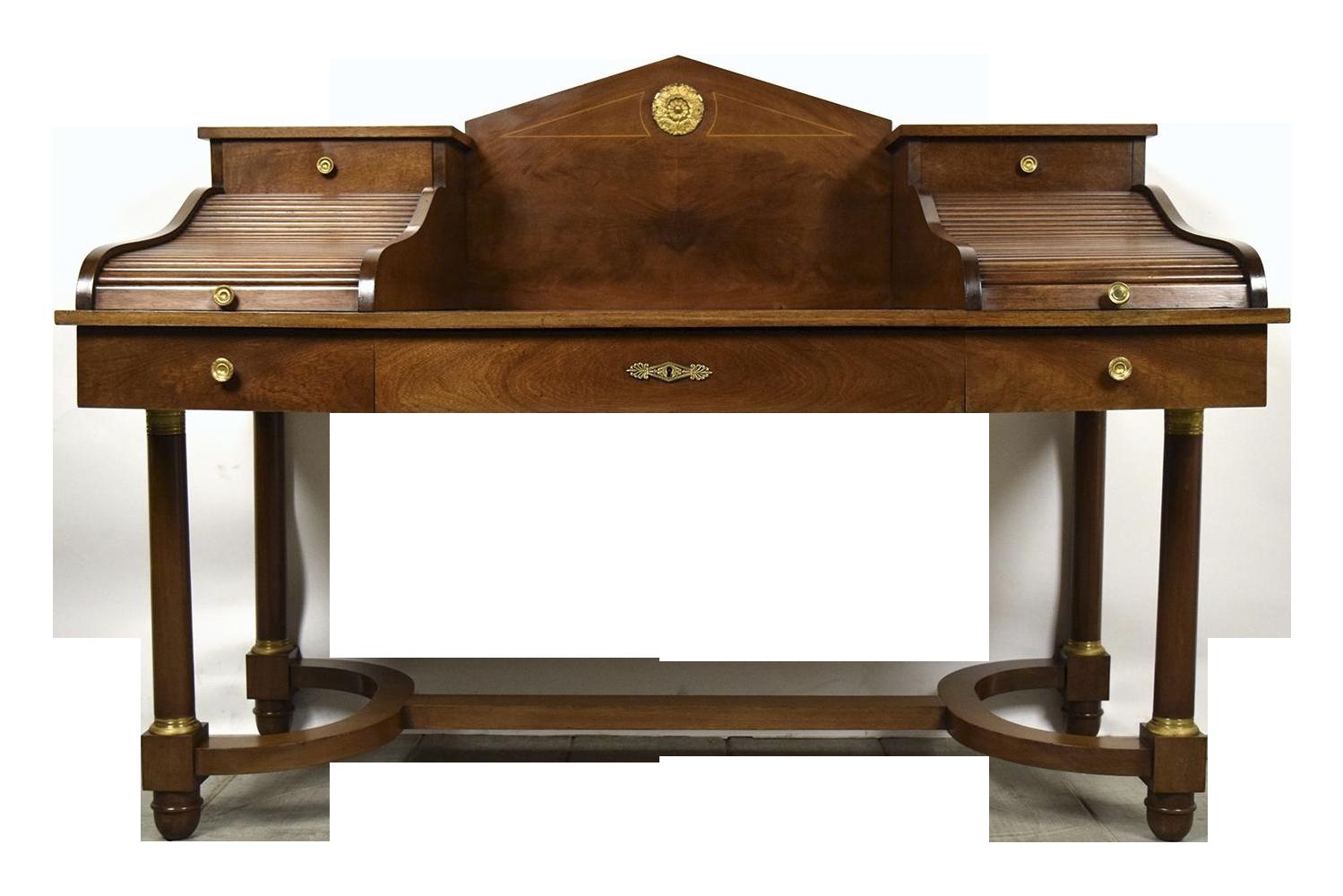 19th C French Empire Directorie Mahogany Desk Chairish