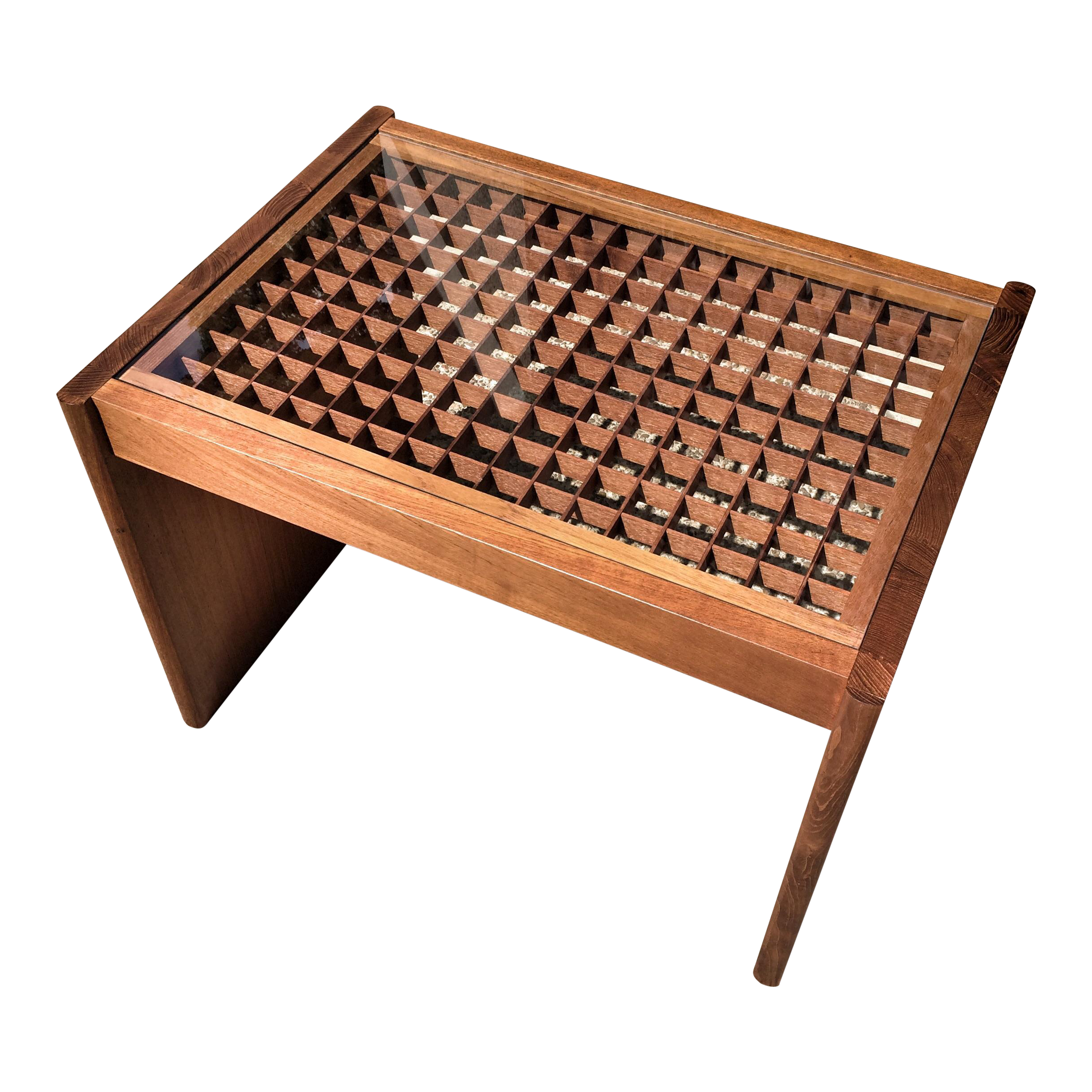 Low Round Teak Coffee Table: Komfort Geometric Teak Coffee Table
